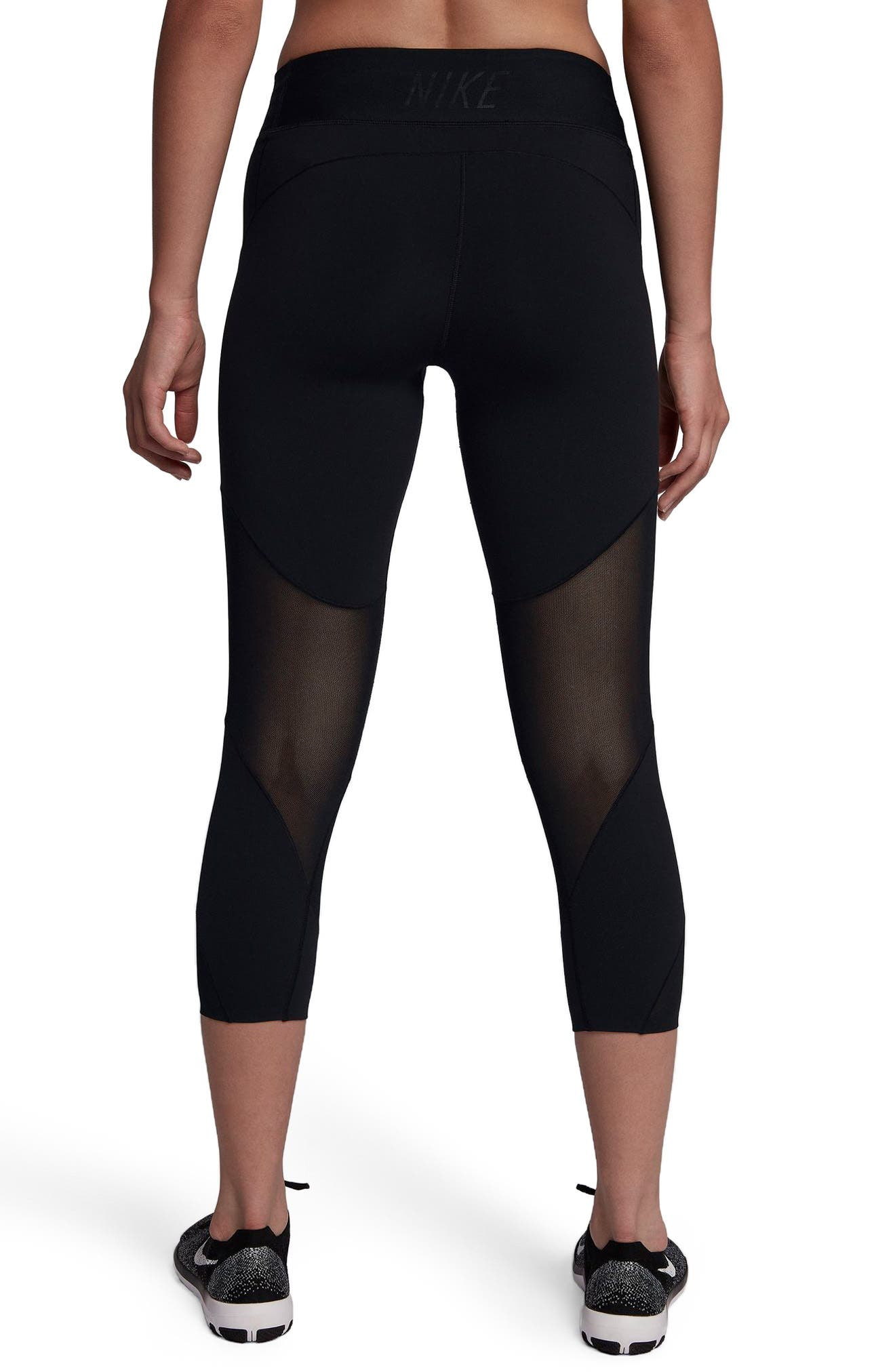 Fly Lux Crop Leggings,                             Alternate thumbnail 2, color,                             Black/ Clear
