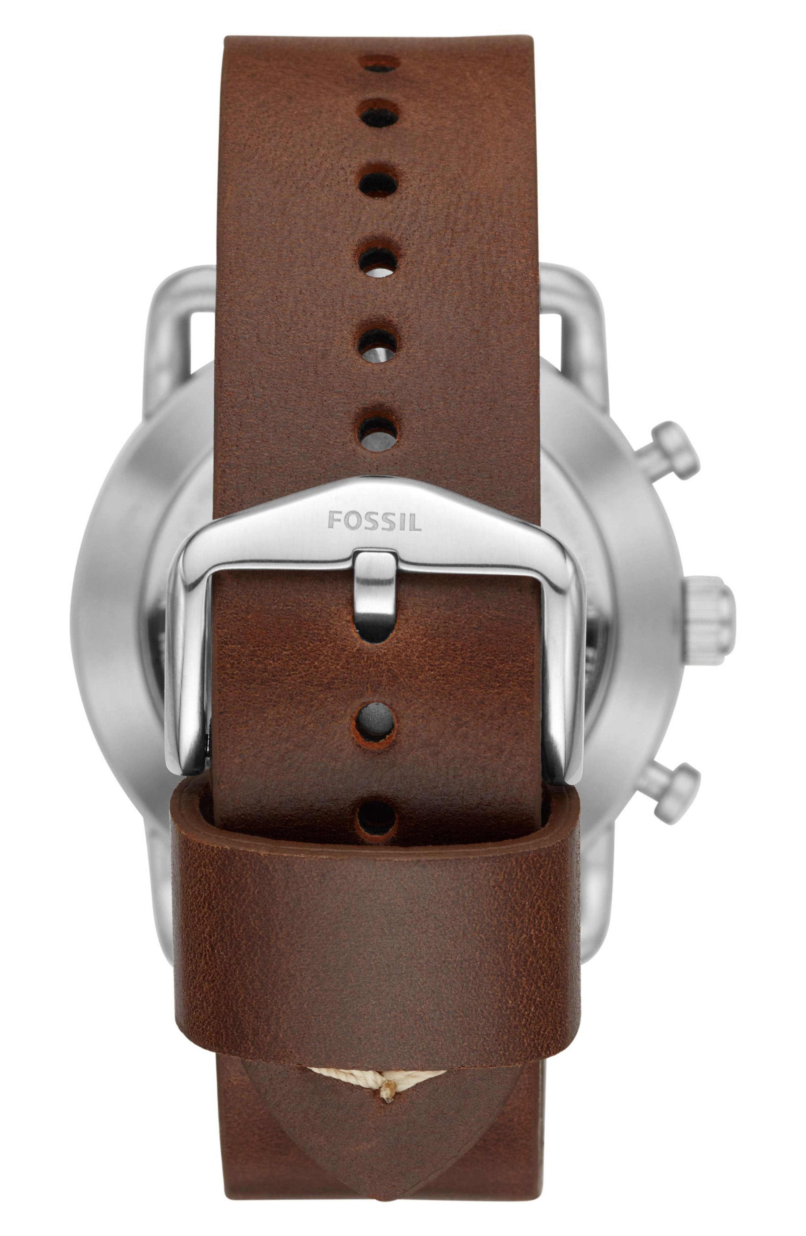 Commuter Leather Strap Hybrid Smart Watch, 42mm,                             Alternate thumbnail 3, color,                             Brown/ Beige/ Silver