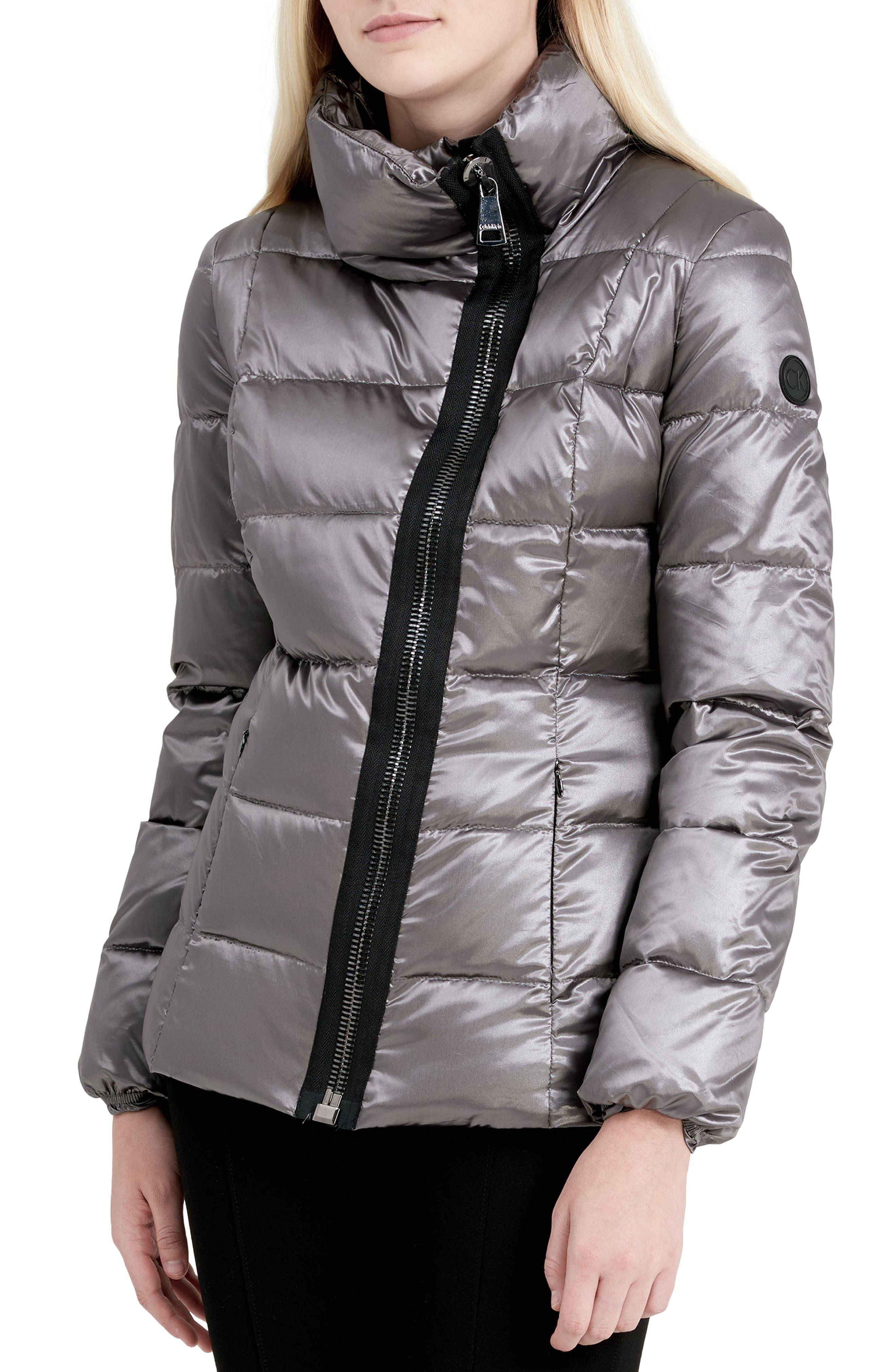 Asymmetrical Zip Down Jacket,                             Main thumbnail 1, color,                             Shine Granite