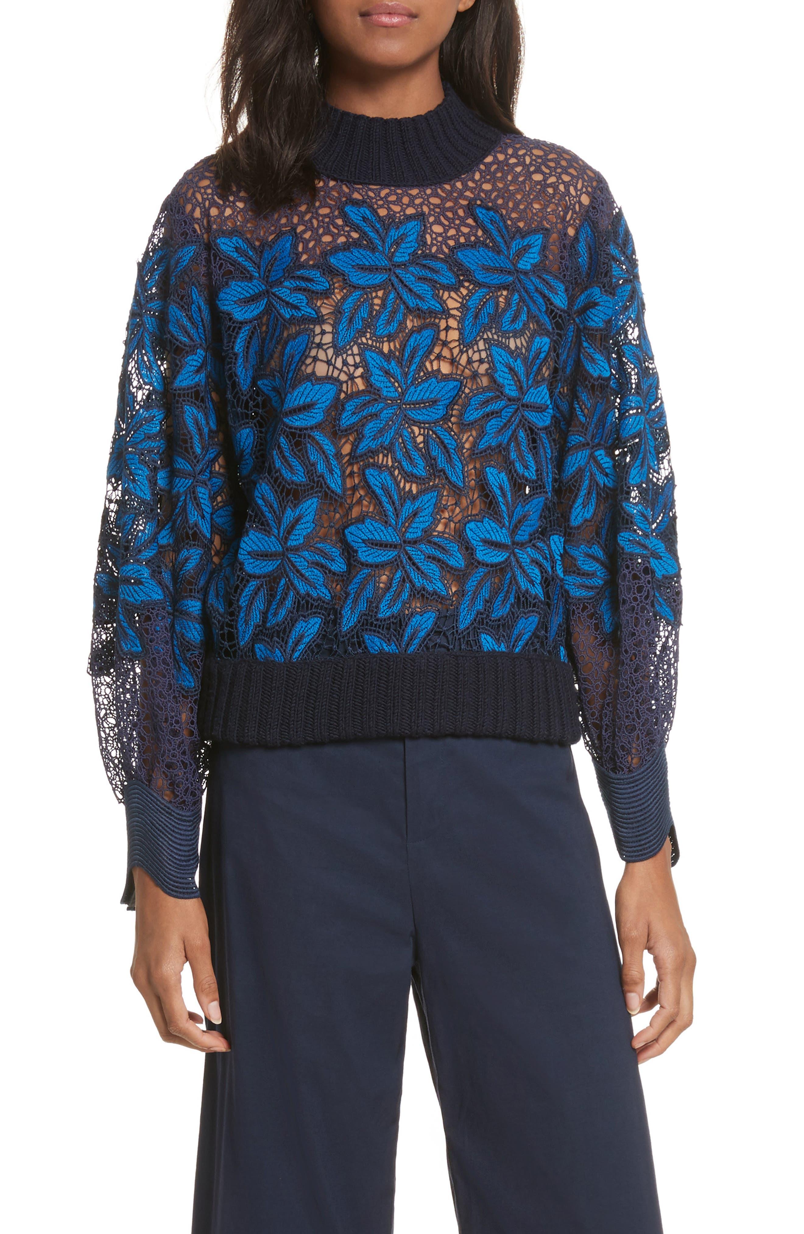 Mosaic Lace Bell Sleeve Sweatshirt,                         Main,                         color, Blue Multi