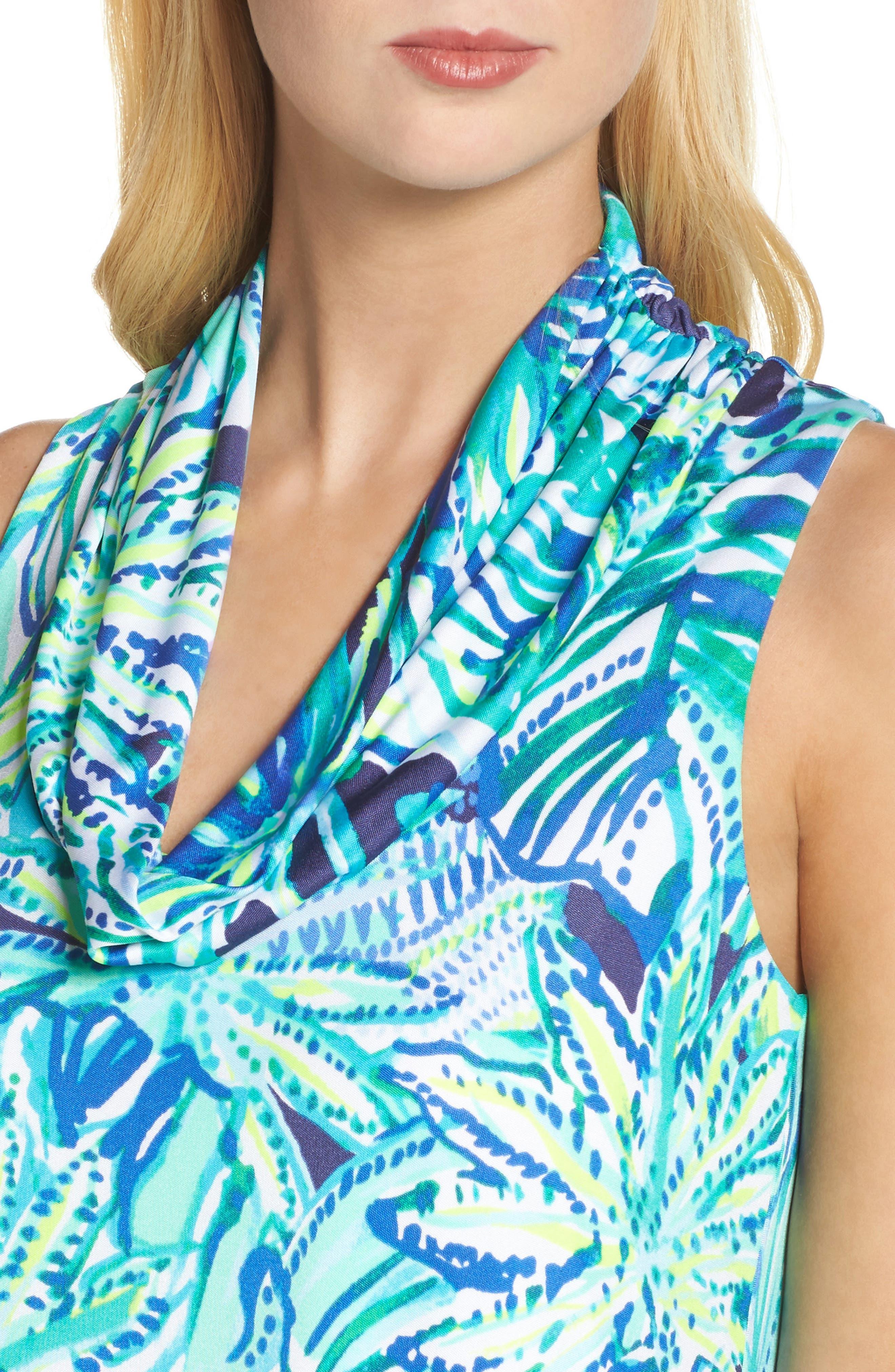 Lyza Silk Shift Dress,                             Alternate thumbnail 4, color,                             Bright Navy Dally