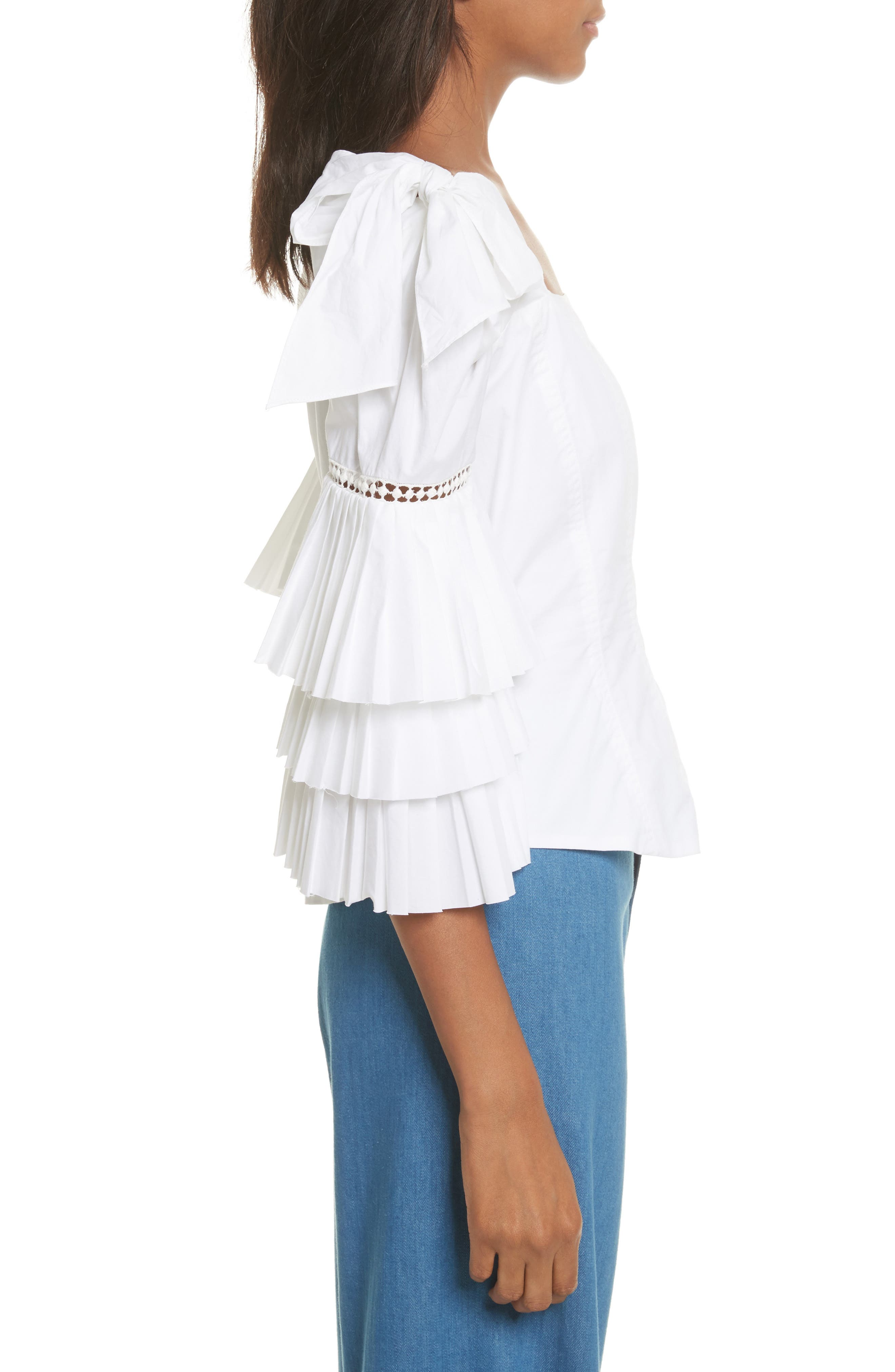 Antoinette Ruffle Sleeve Blouse,                             Alternate thumbnail 4, color,                             White