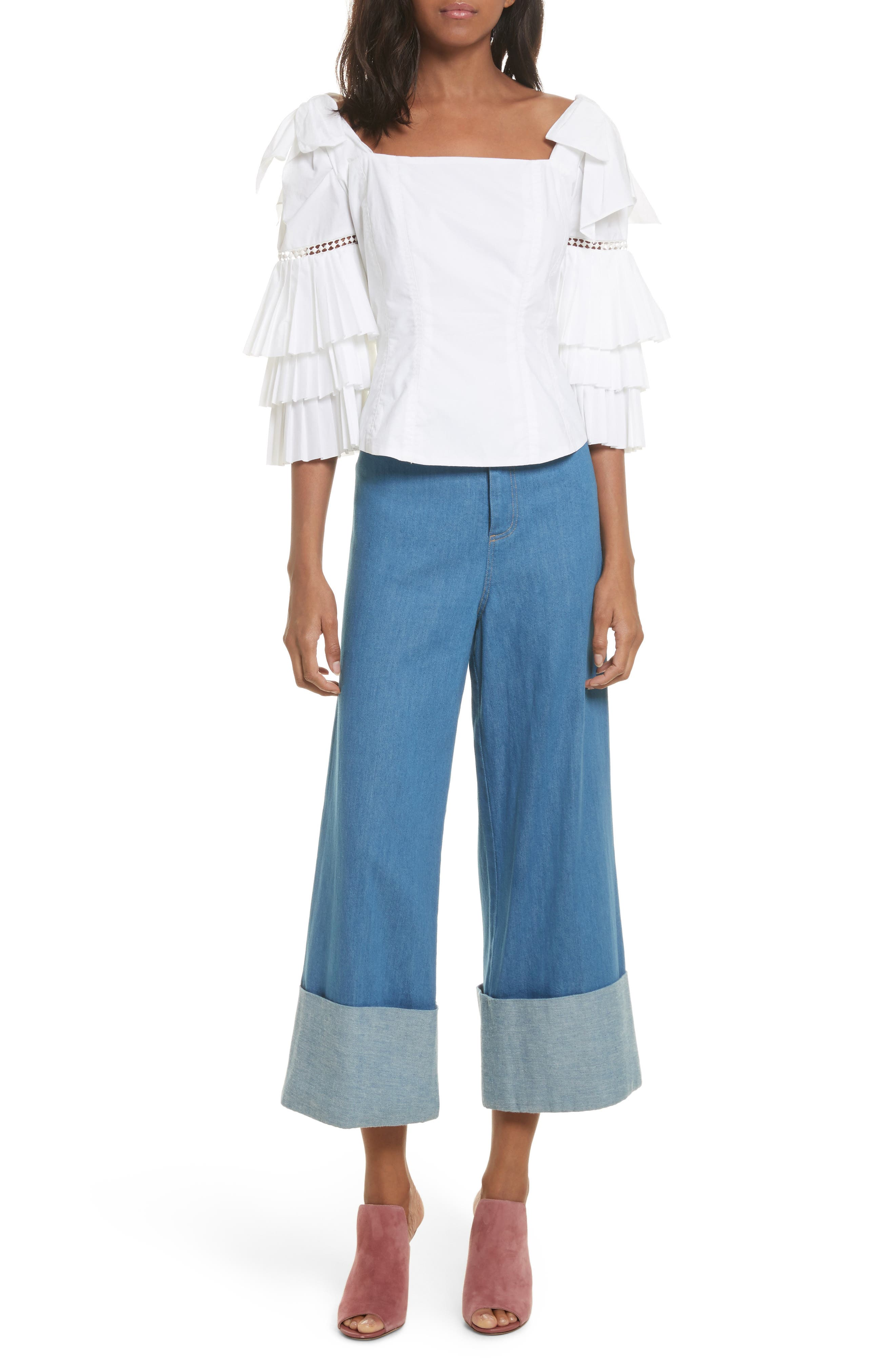 Classic Cuffed Wide Leg Jeans,                             Alternate thumbnail 2, color,                             Light Indigo