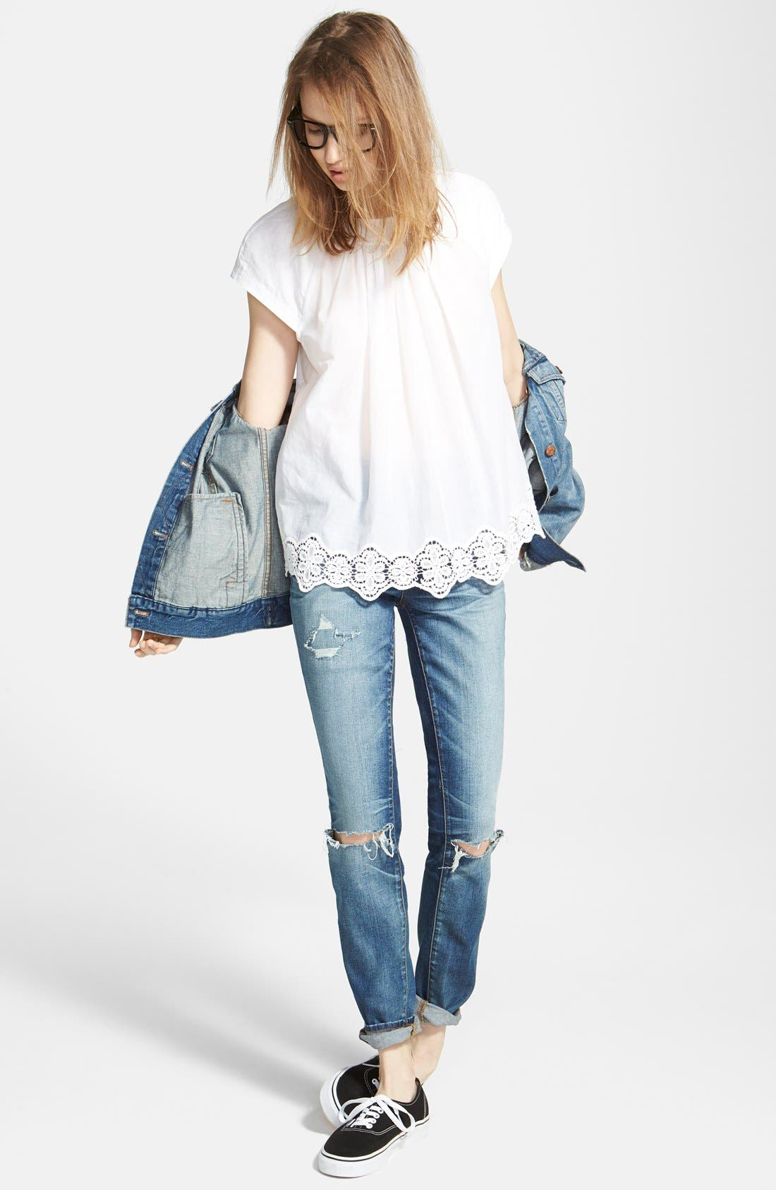 Alternate Image 2  - Madewell Eyelet Hem Peasant Top