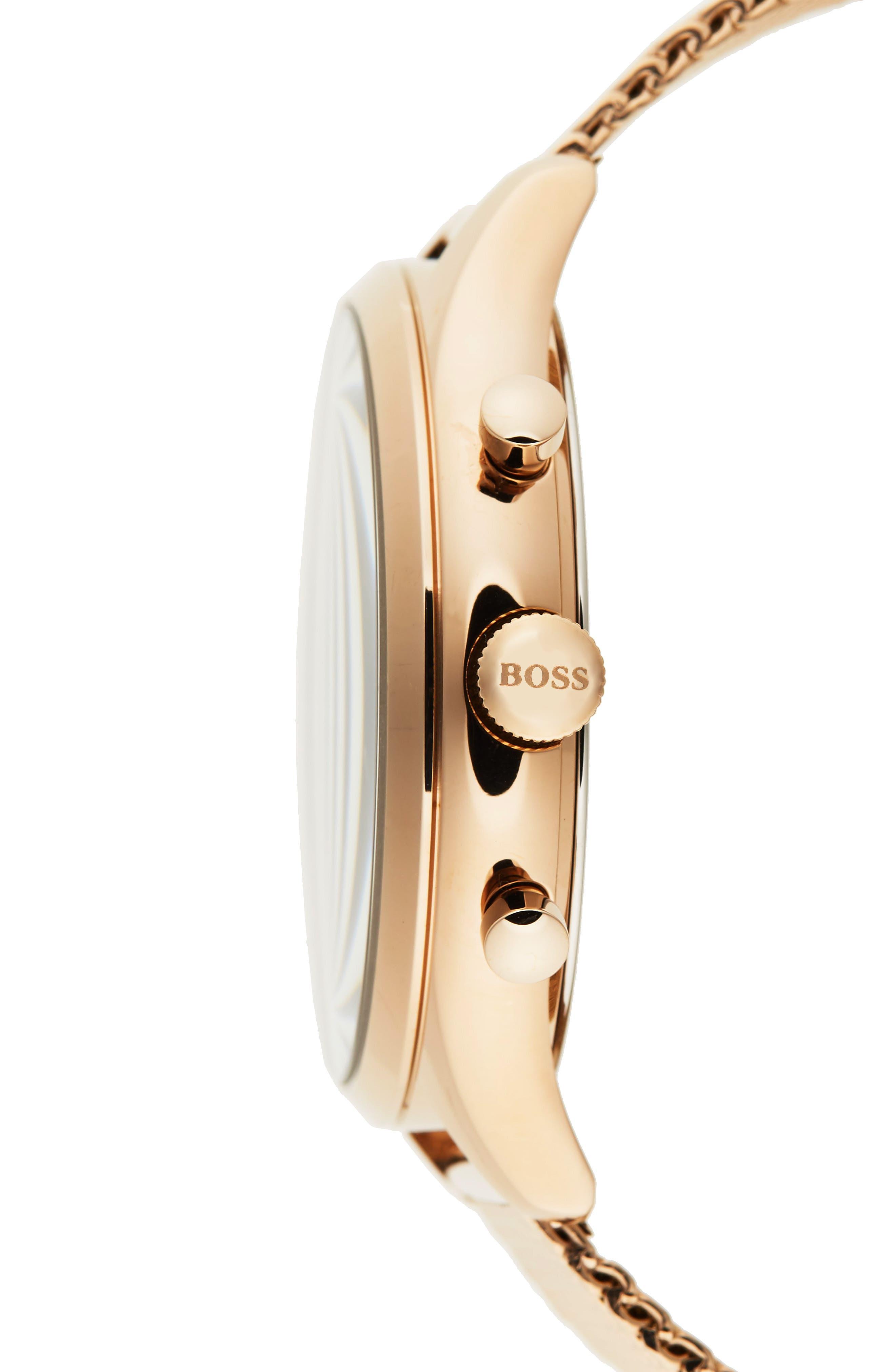 Companion Chronograph Mesh Bracelet Watch, 42mm,                             Alternate thumbnail 3, color,                             Black/ Vintage Gold