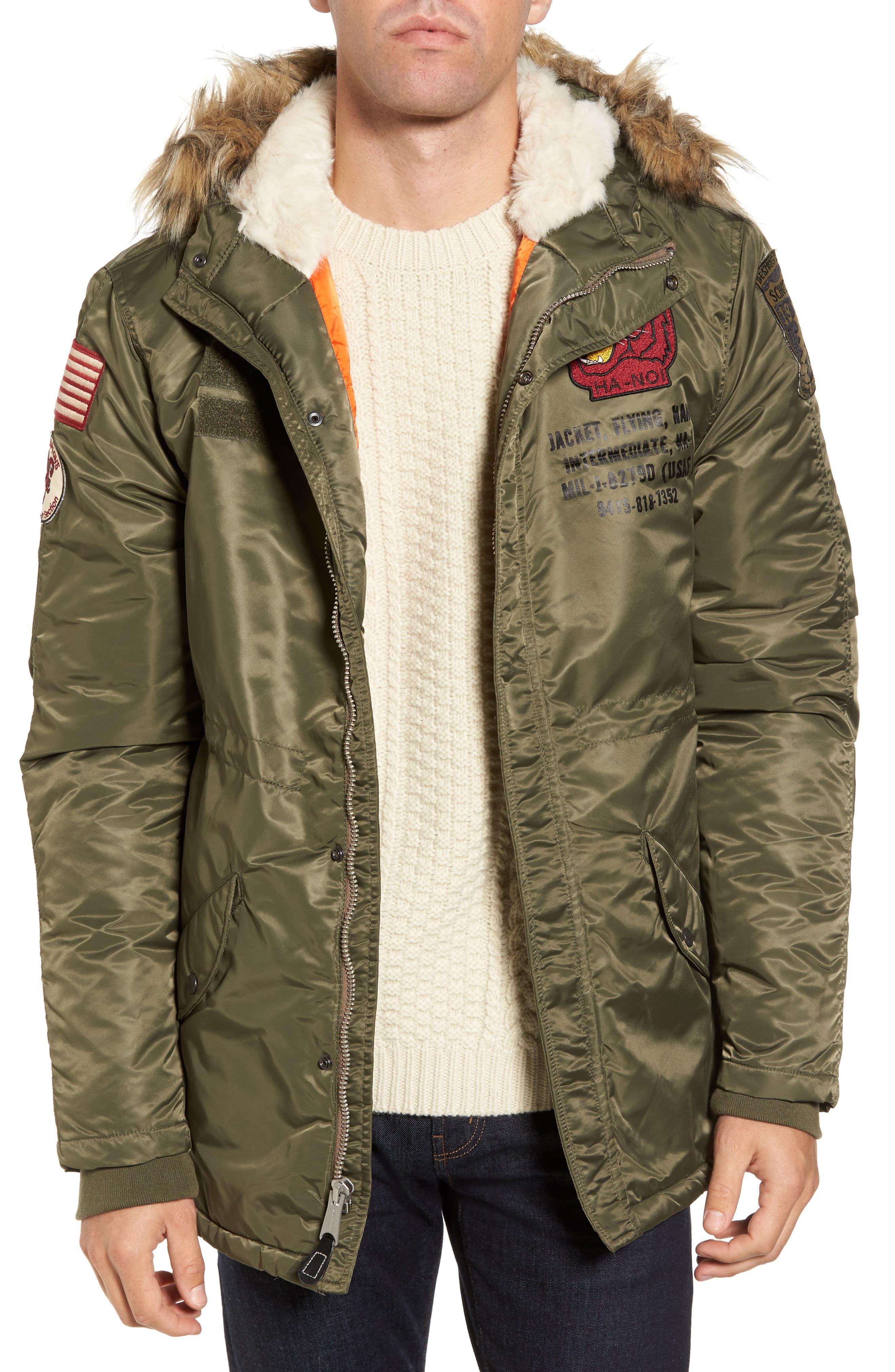 N3-B Snorkel Flight Jacket with Faux Fur Trim & Lining,                         Main,                         color, Sage
