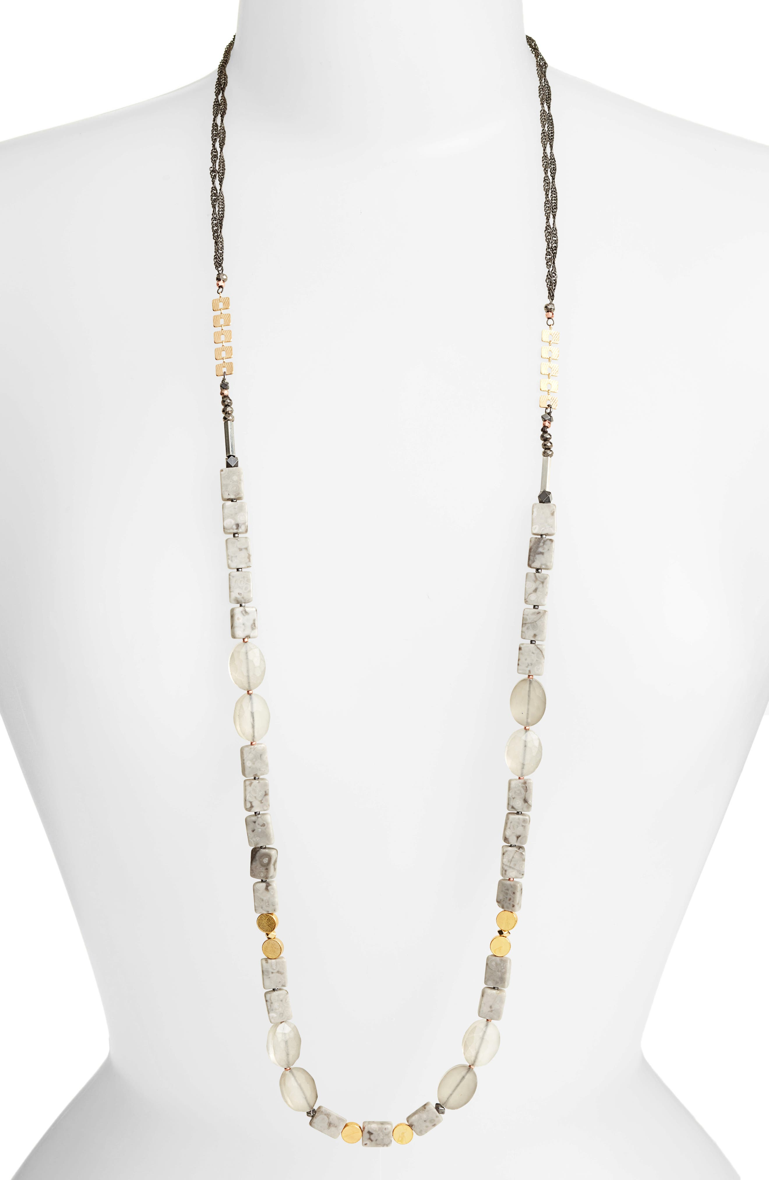 Long Agate Necklace,                         Main,                         color, Grey