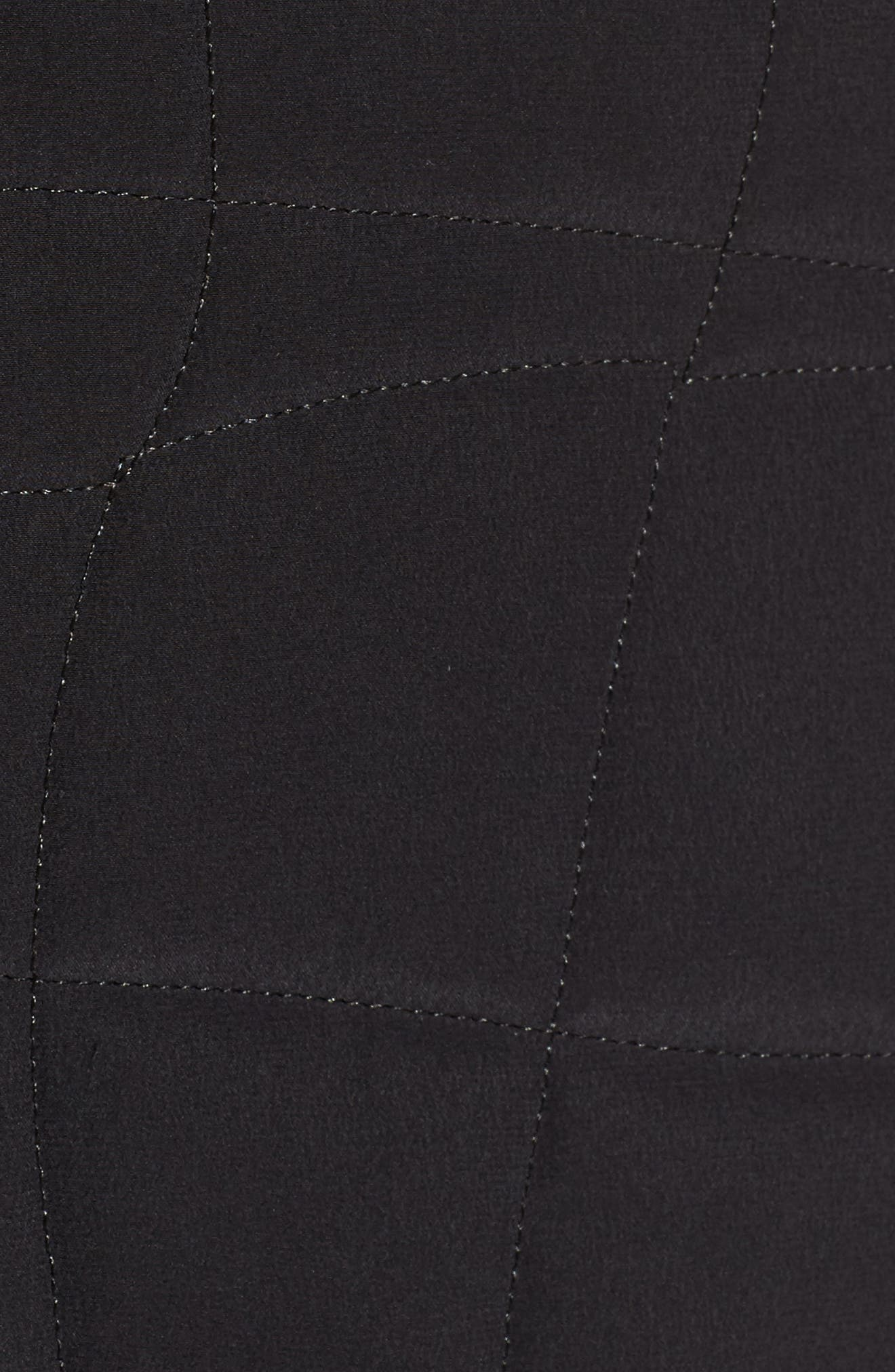 Quilted Silk Crop Jacket,                             Alternate thumbnail 5, color,                             Black