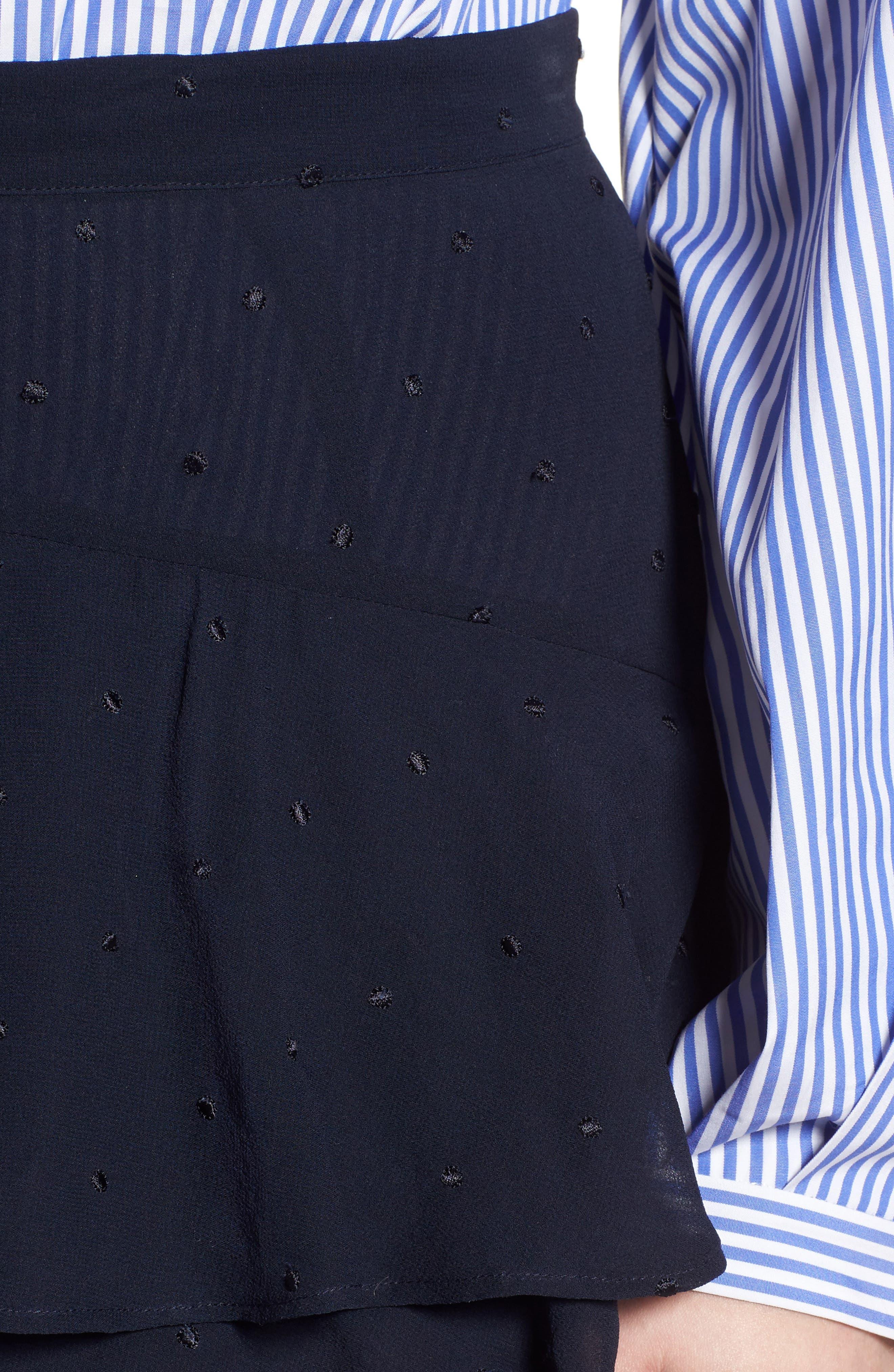 Tiered Silk Chiffon Skirt,                             Alternate thumbnail 5, color,                             Navy Night