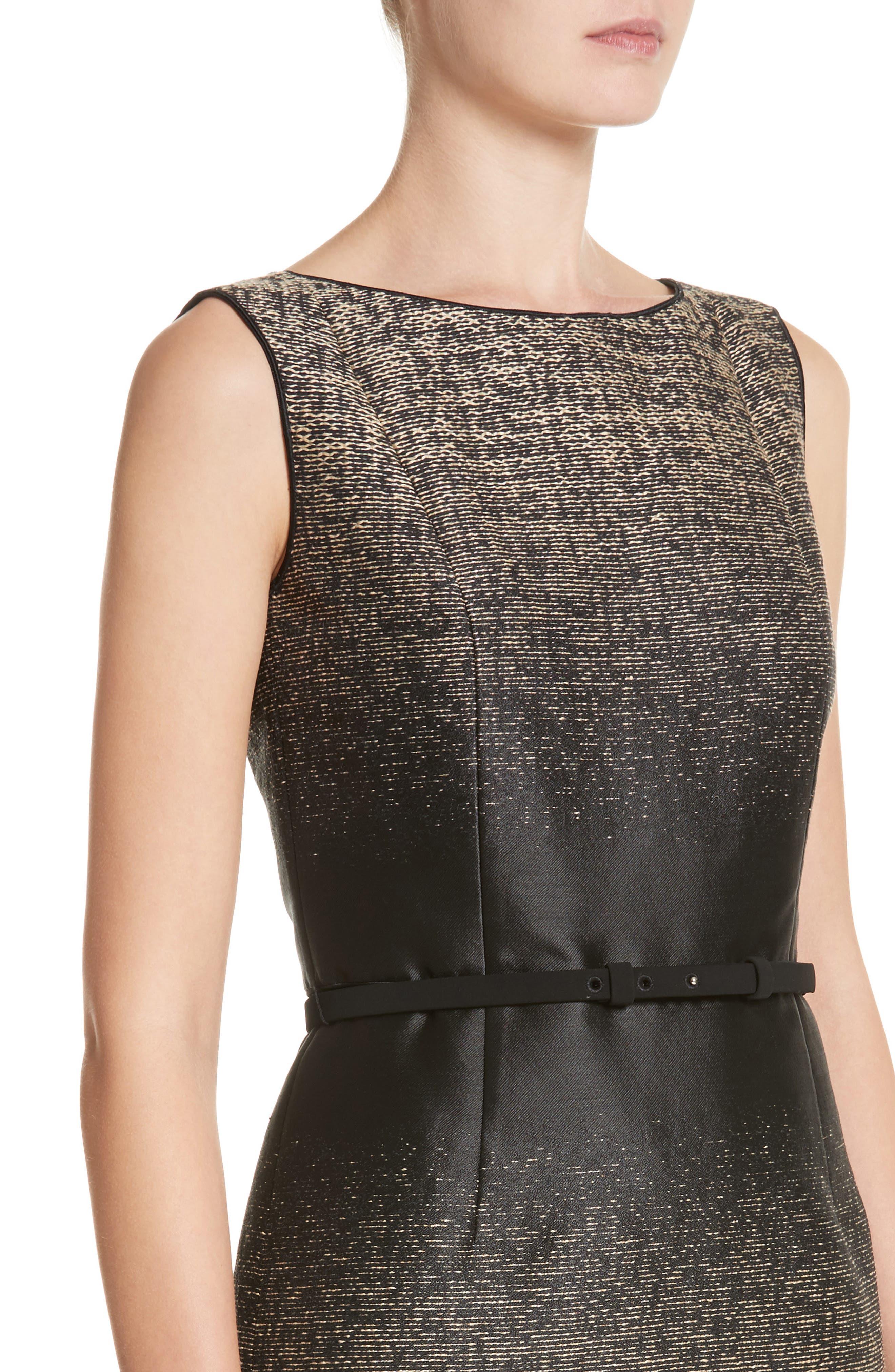 Paulette Jacquard Sheath Dress,                             Alternate thumbnail 4, color,                             Black Multi