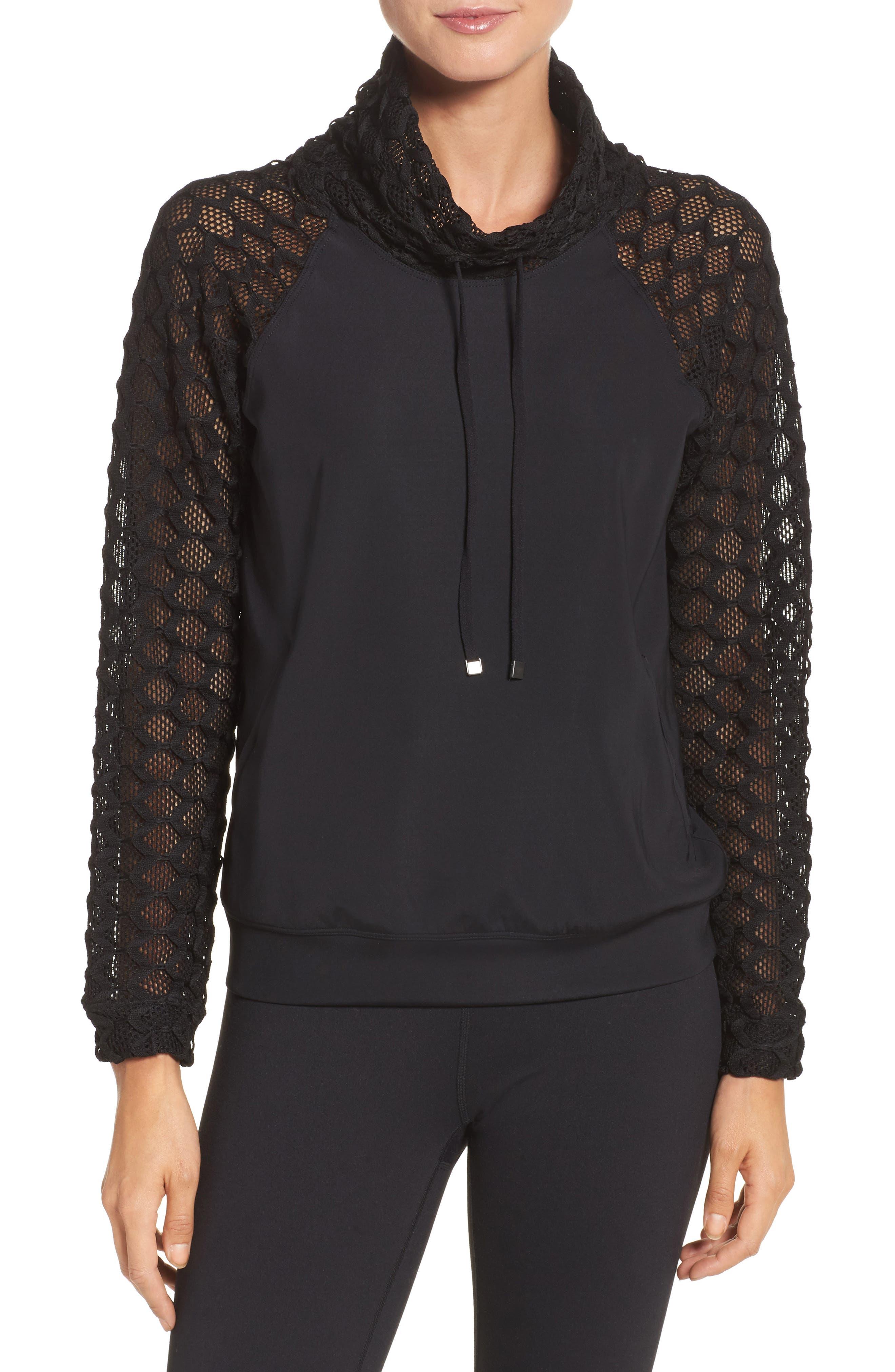 Mesh Sleeve Funnel Neck Pullover,                         Main,                         color, Black
