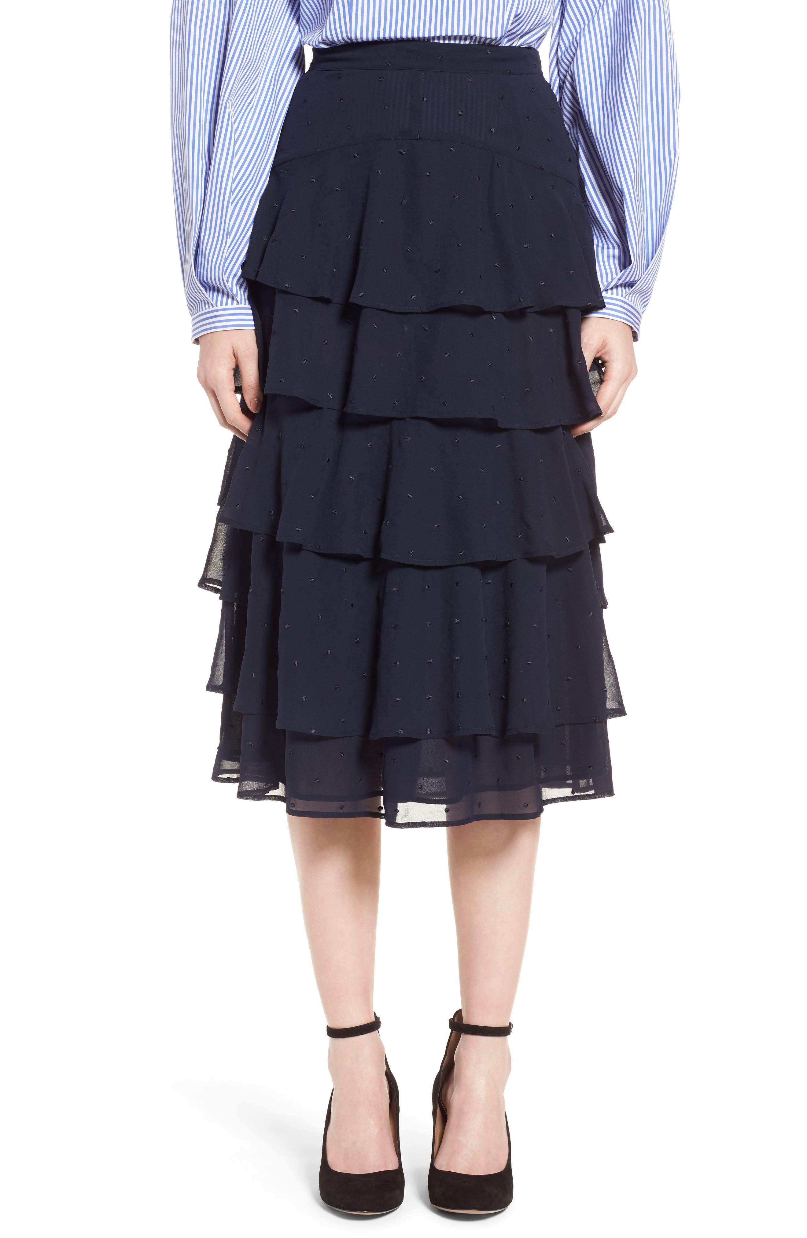 Tiered Silk Chiffon Skirt,                         Main,                         color, Navy Night
