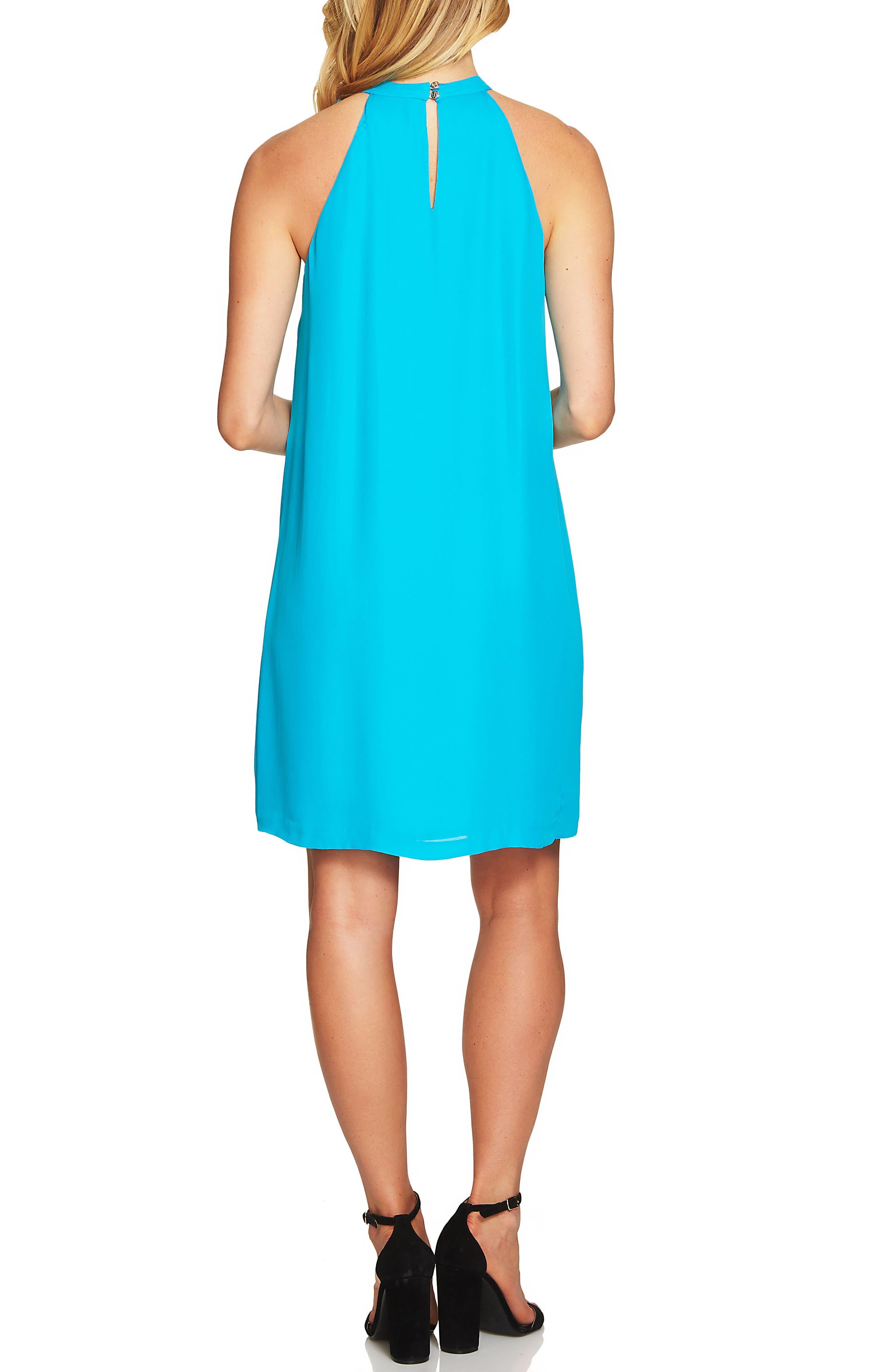 Tie Neck Halter Dress,                             Alternate thumbnail 2, color,                             Ocean Depths