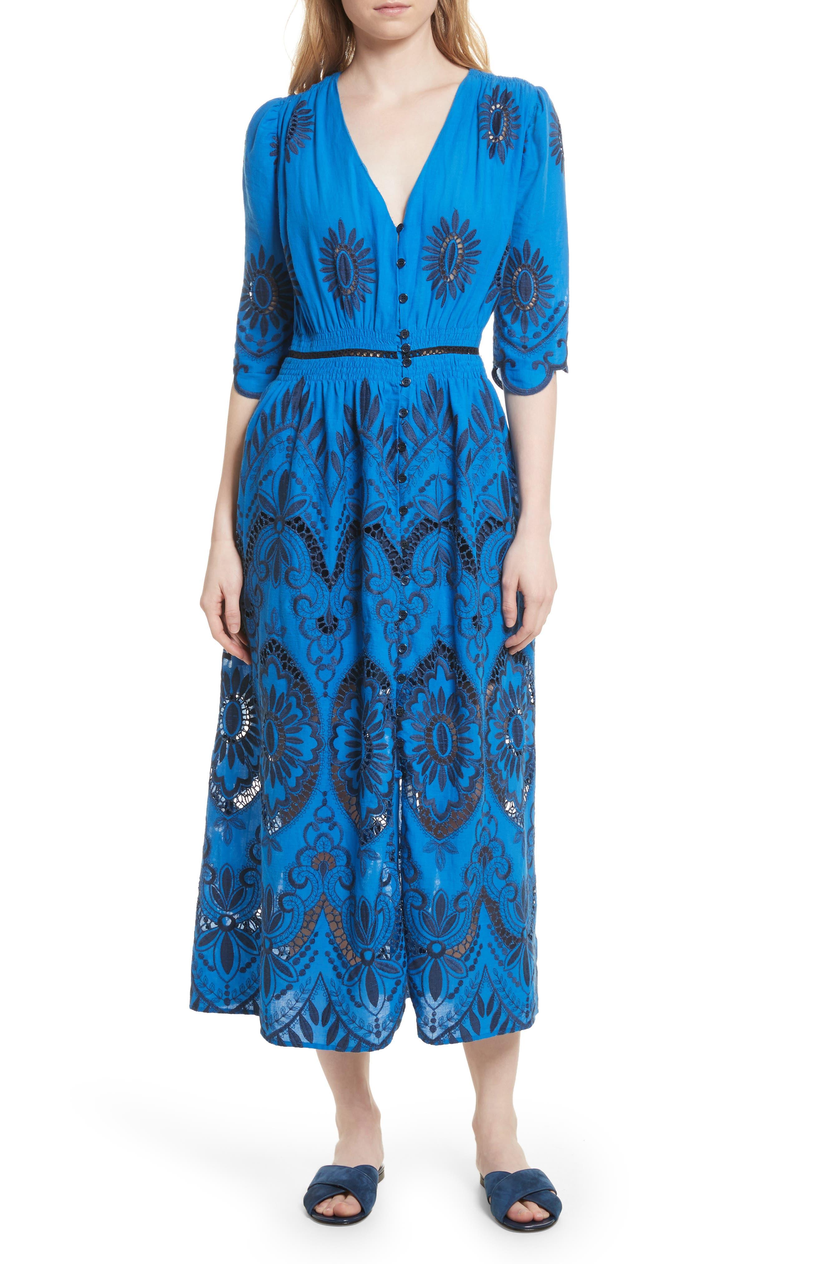 Cotton Eyelet Maxi Dress,                             Main thumbnail 1, color,                             Blue/ Navy
