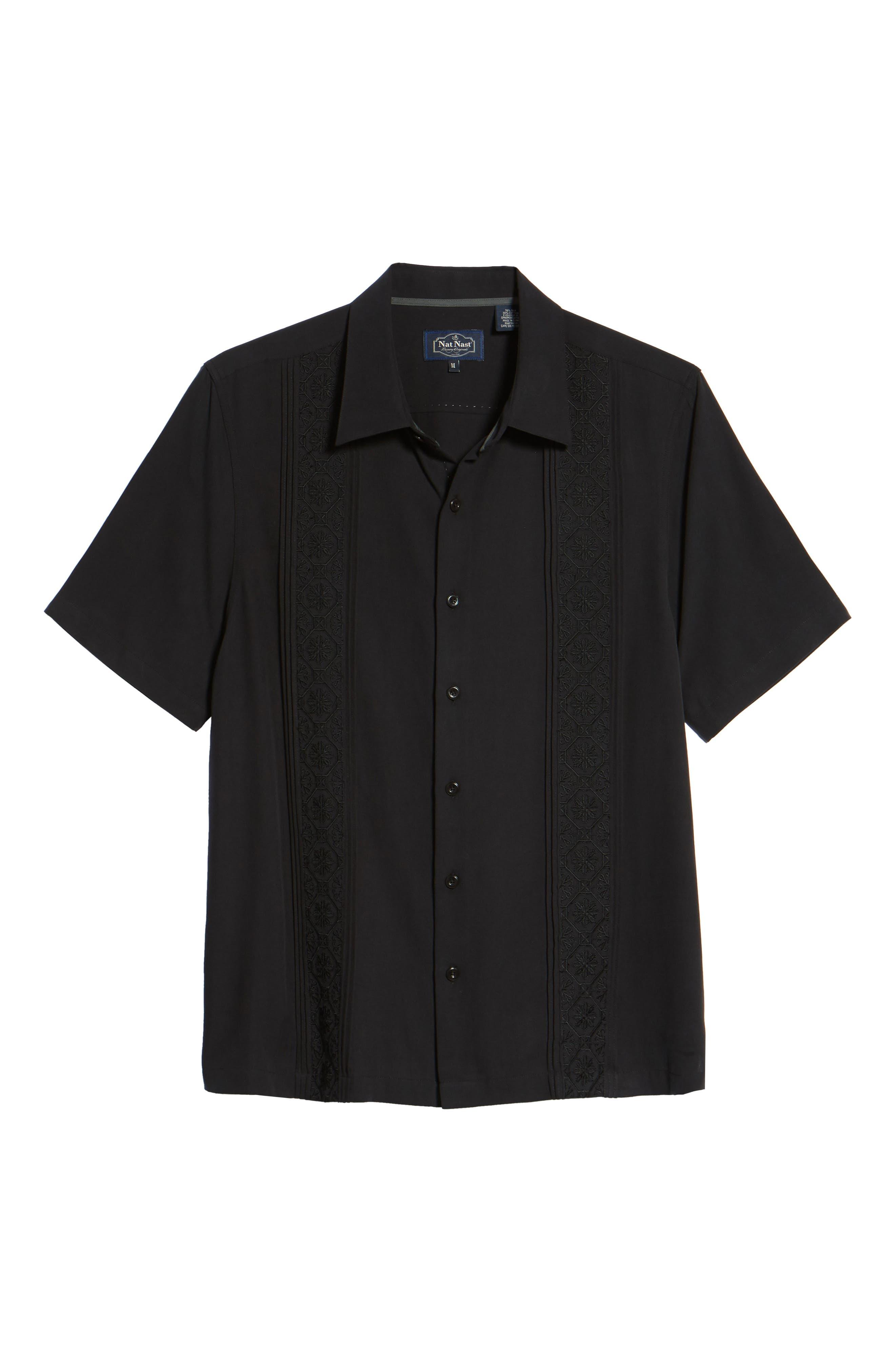 Regular Fit Embroidered Silk Sport Shirt,                             Alternate thumbnail 6, color,                             Black