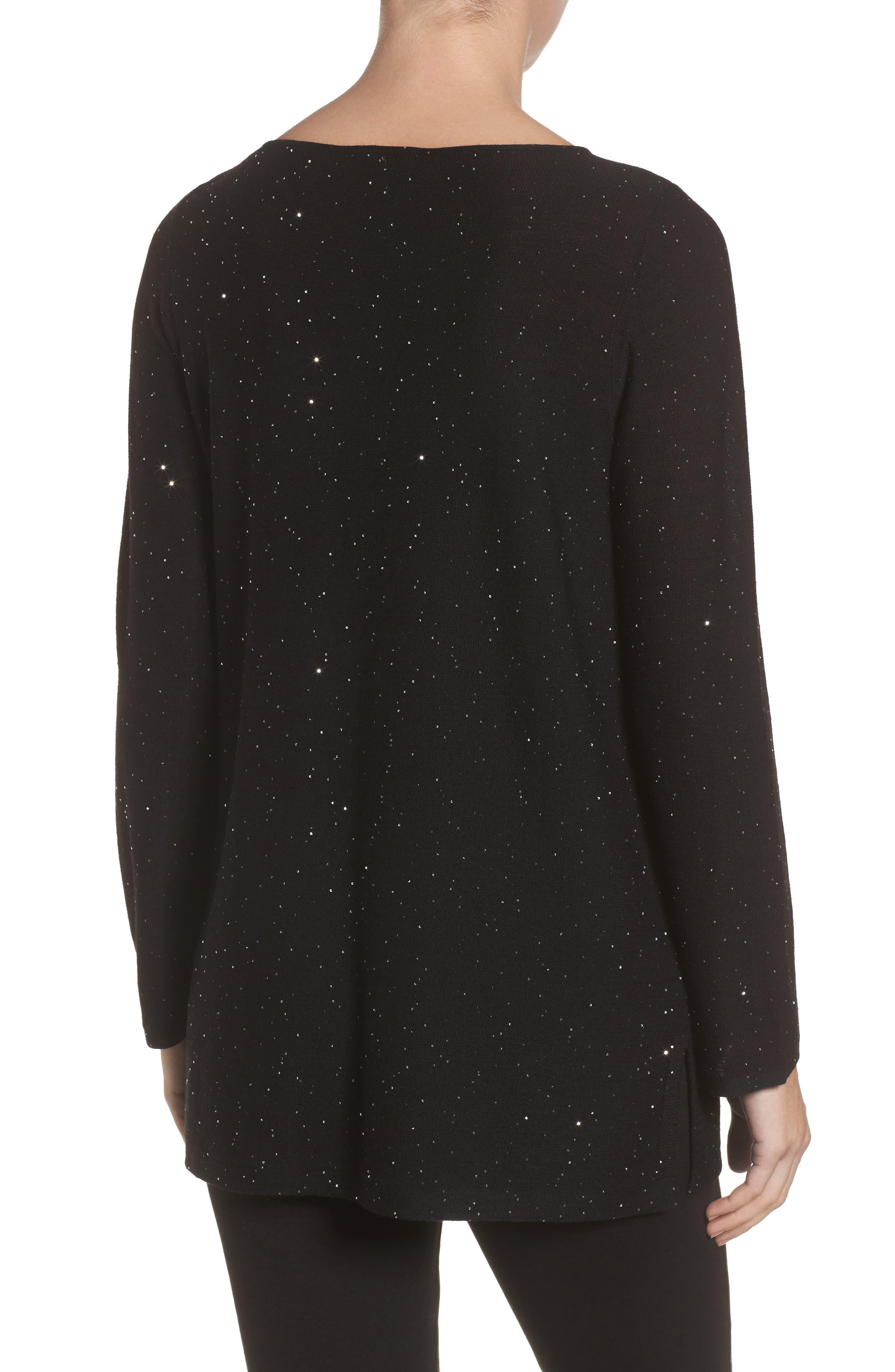 Sequin Merino Wool Sweater,                             Alternate thumbnail 2, color,                             Black