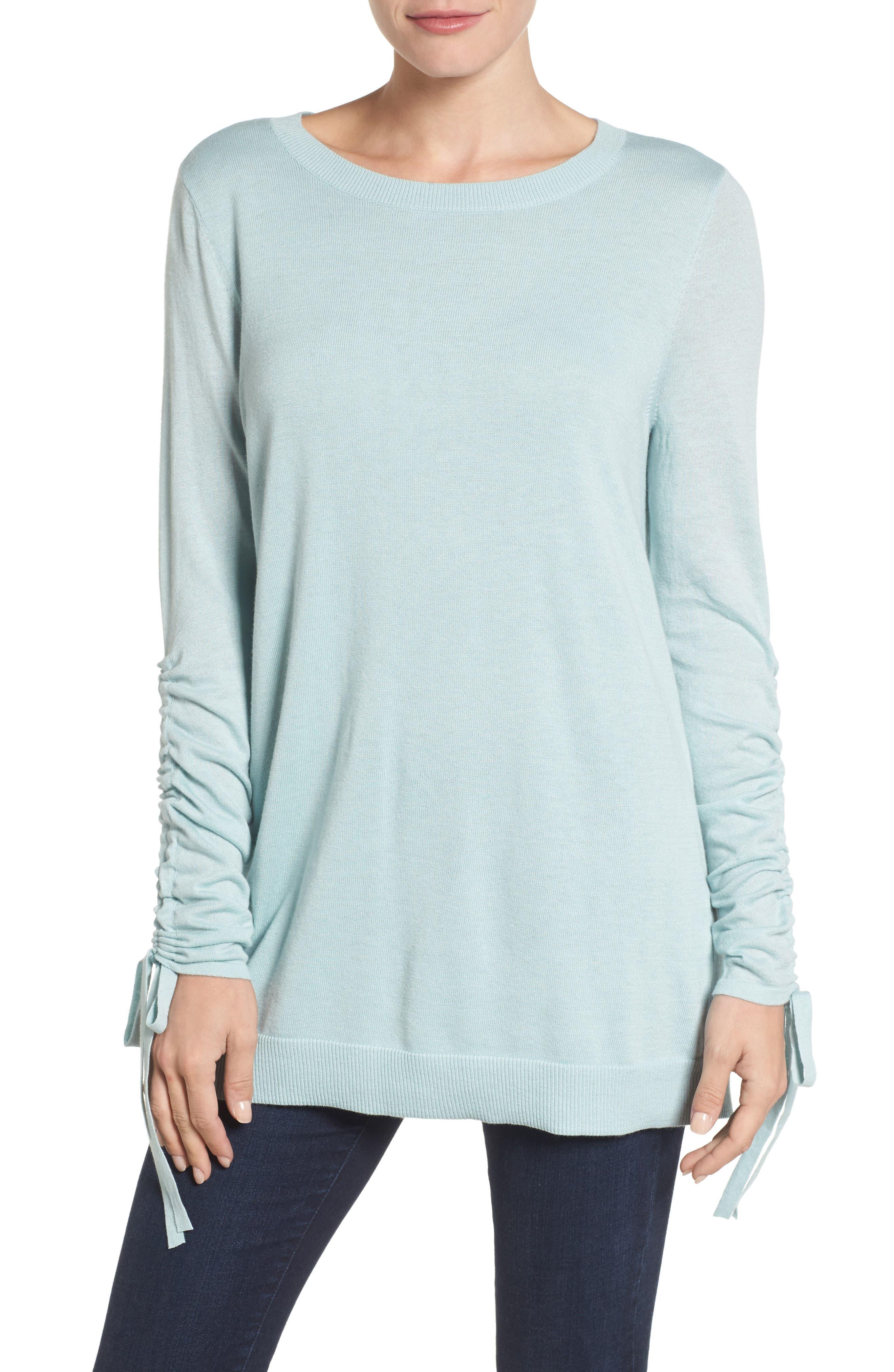Alternate Image 1 Selected - Halogen® Ruched Sleeve Tunic Sweater (Regular & Petite)