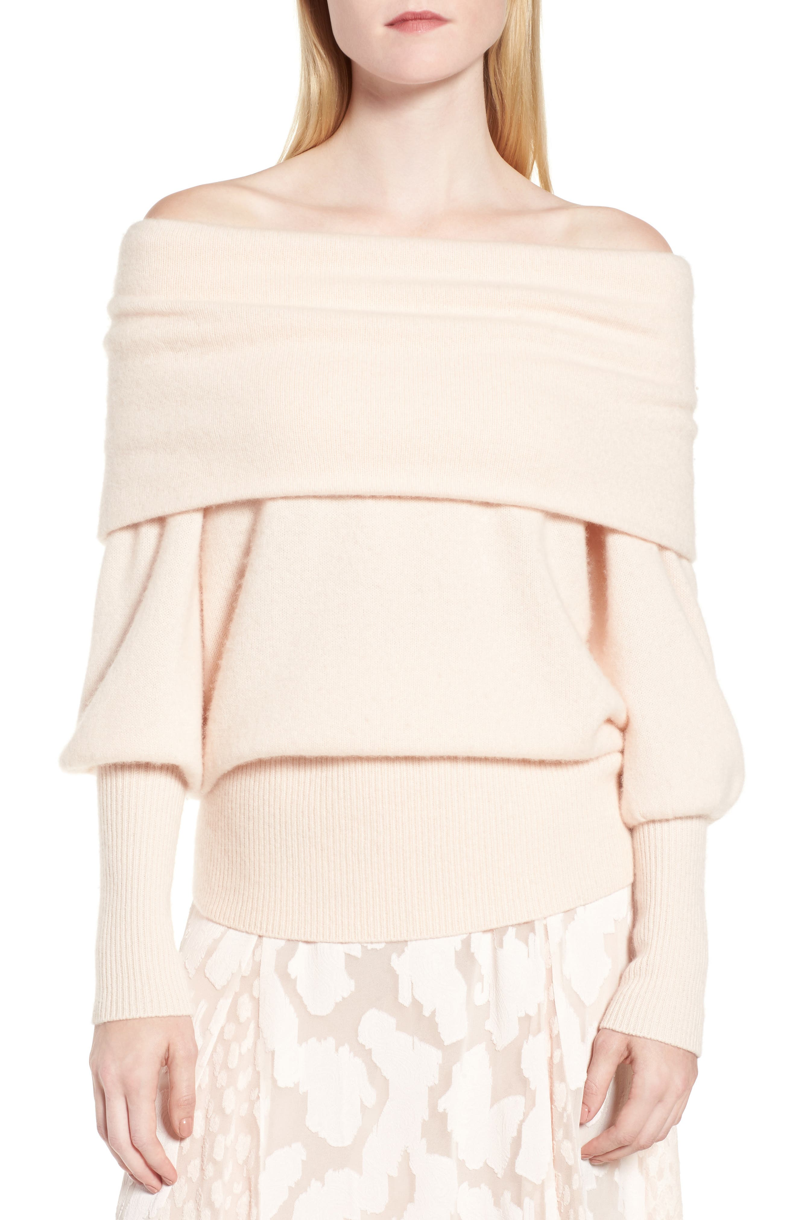 Convertible Neck Cashmere Sweater,                         Main,                         color, Pink Adobe