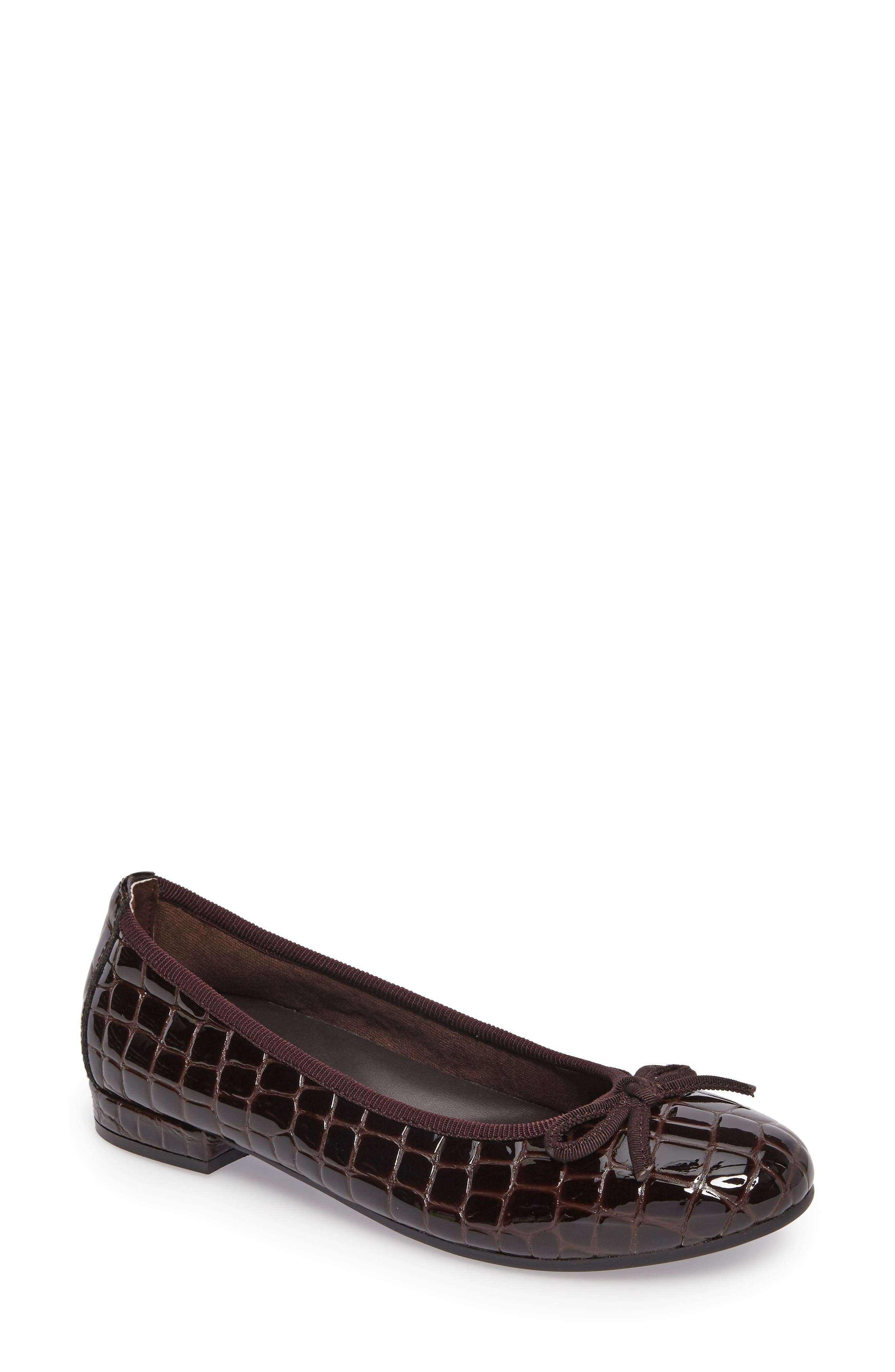 Glow Flat,                         Main,                         color, Brown Patent Leather