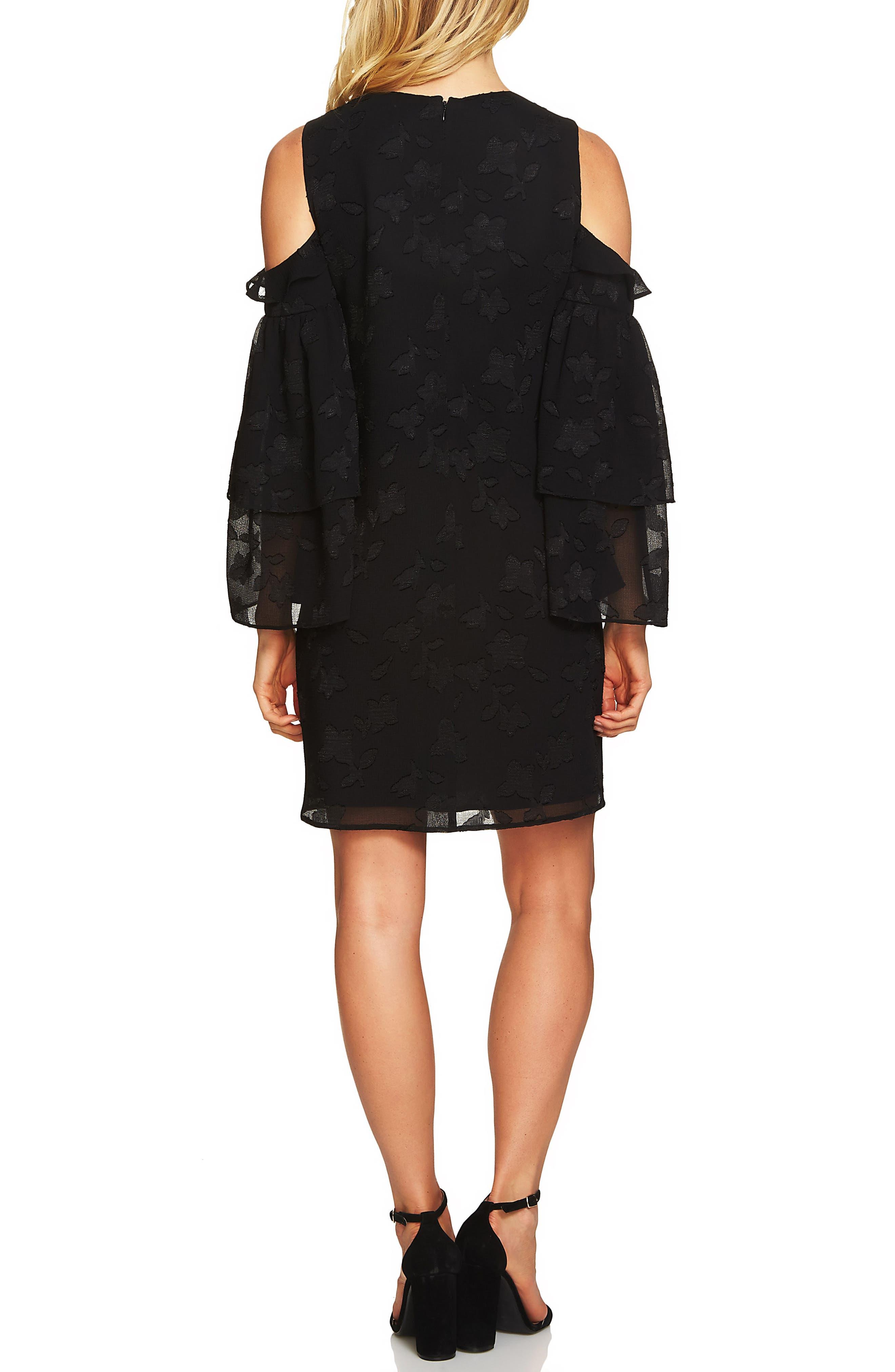 Cold Shoulder Ruffled Sleeve Shift Dress,                             Alternate thumbnail 2, color,                             Rich Black