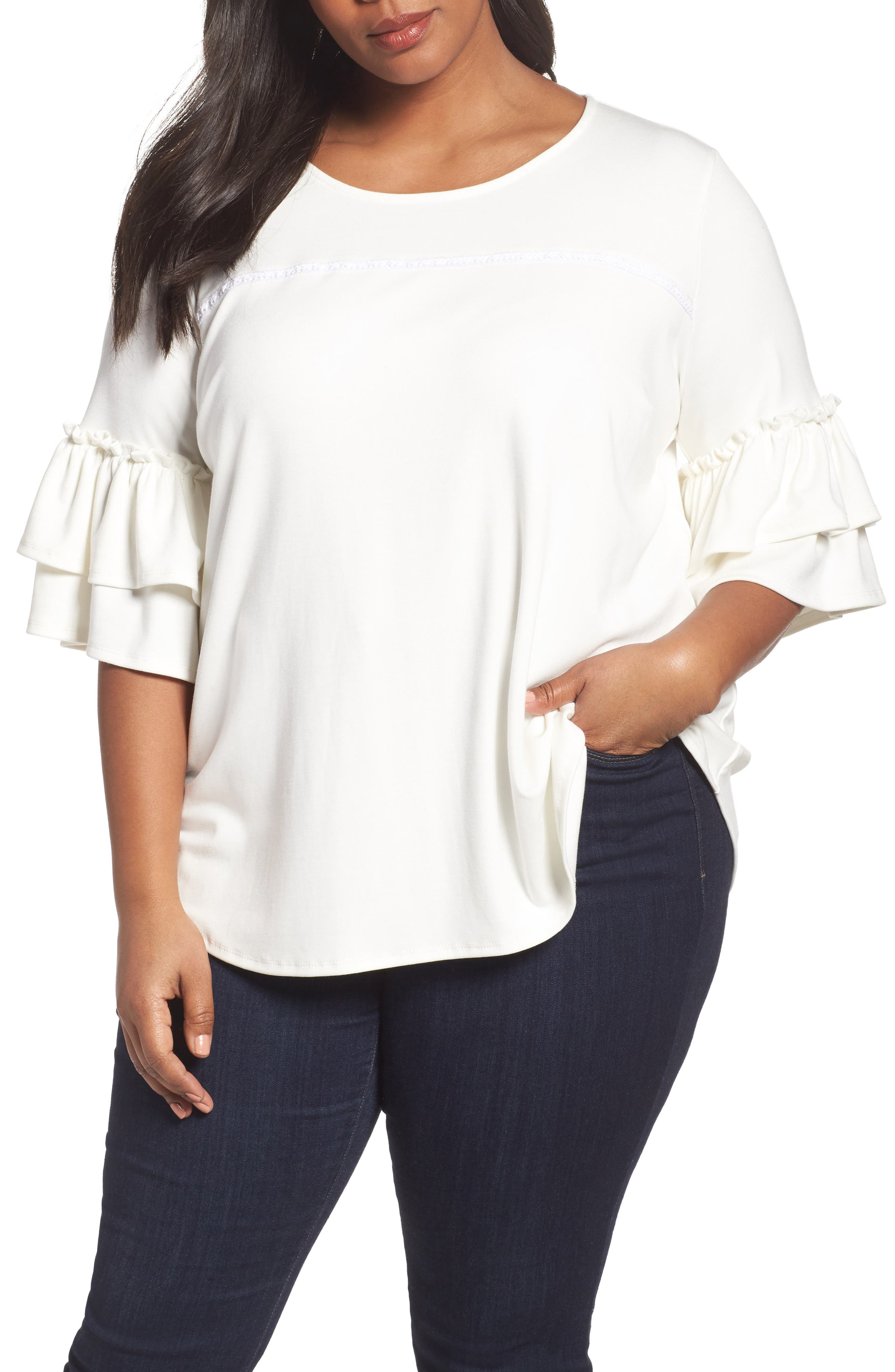 Alternate Image 1 Selected - Sejour Double Ruffle Sleeve Top (Plus Size)