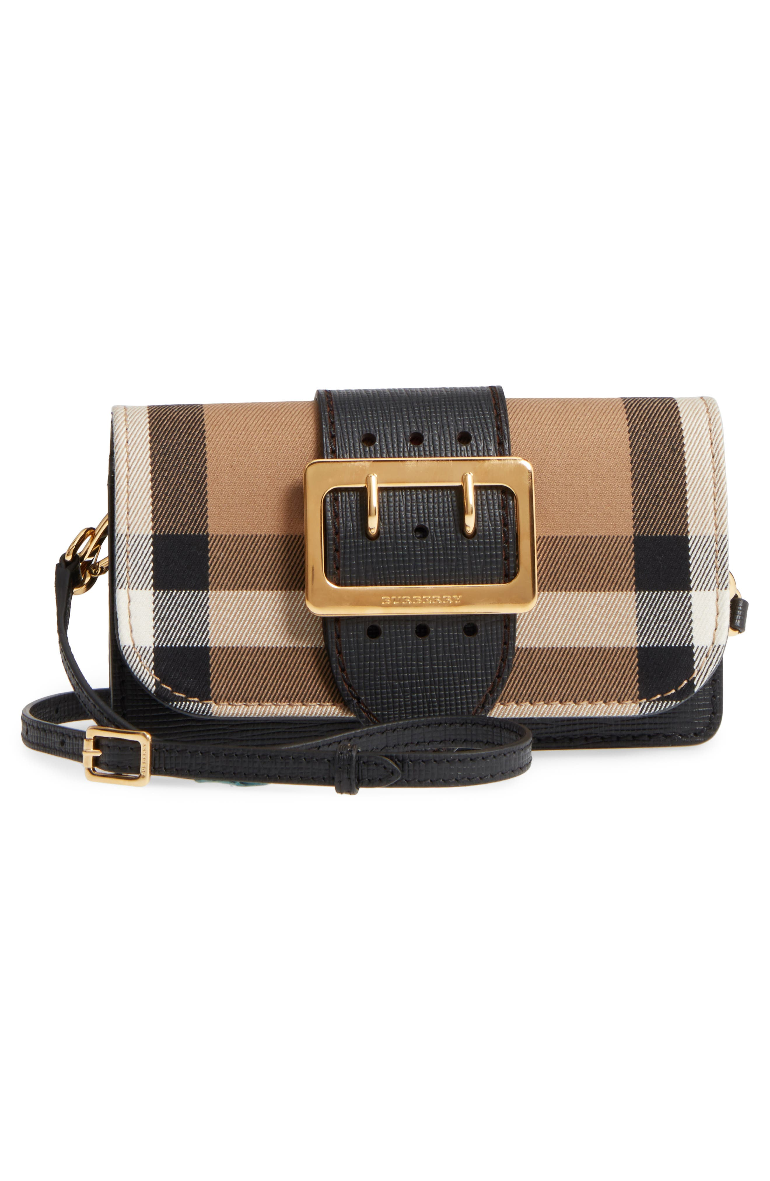 Alternate Image 4  - Burberry Small Buckle House Check & Leather Convertible Clutch