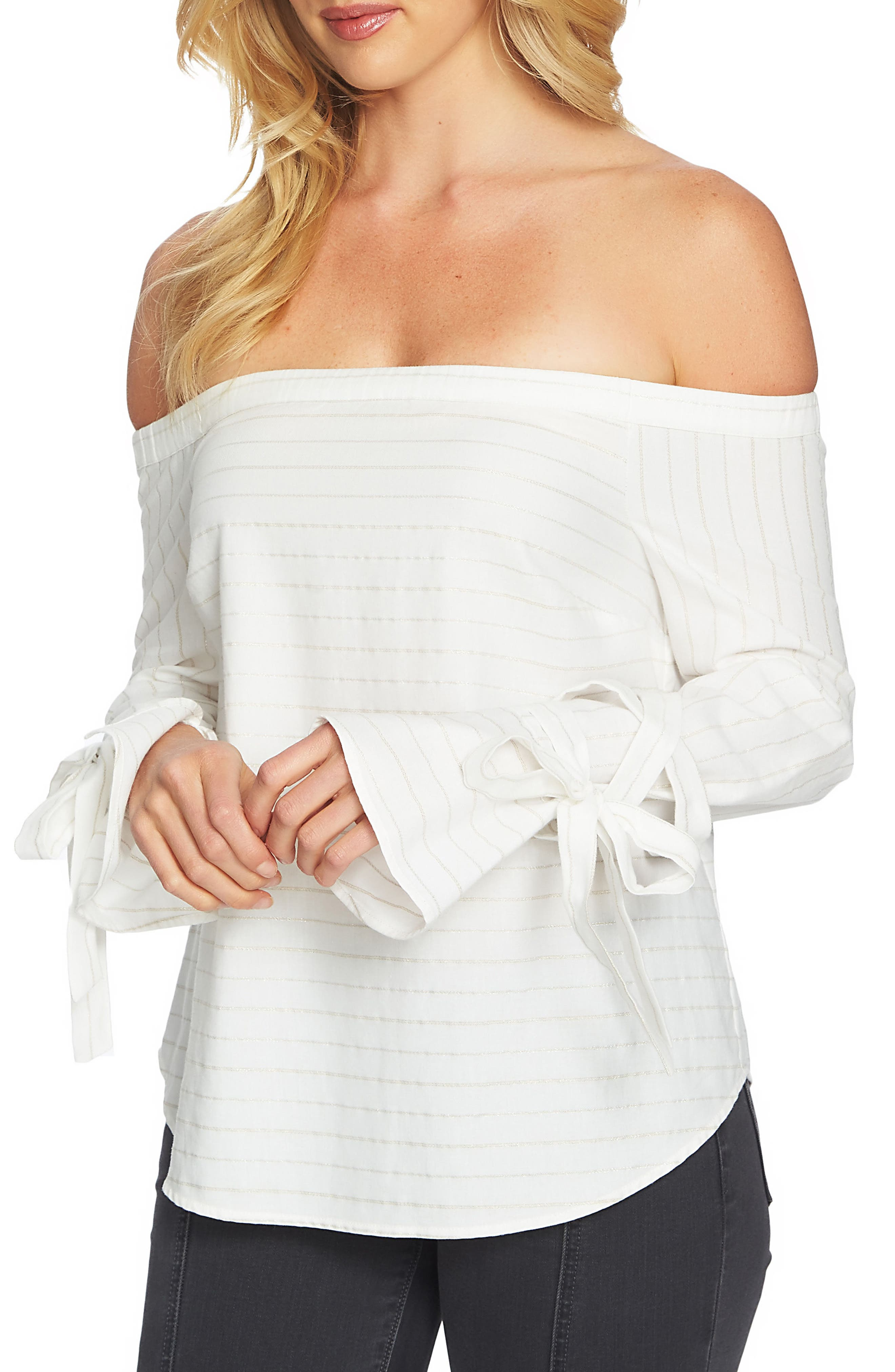 Off the Shoulder Top,                         Main,                         color, Ultra White