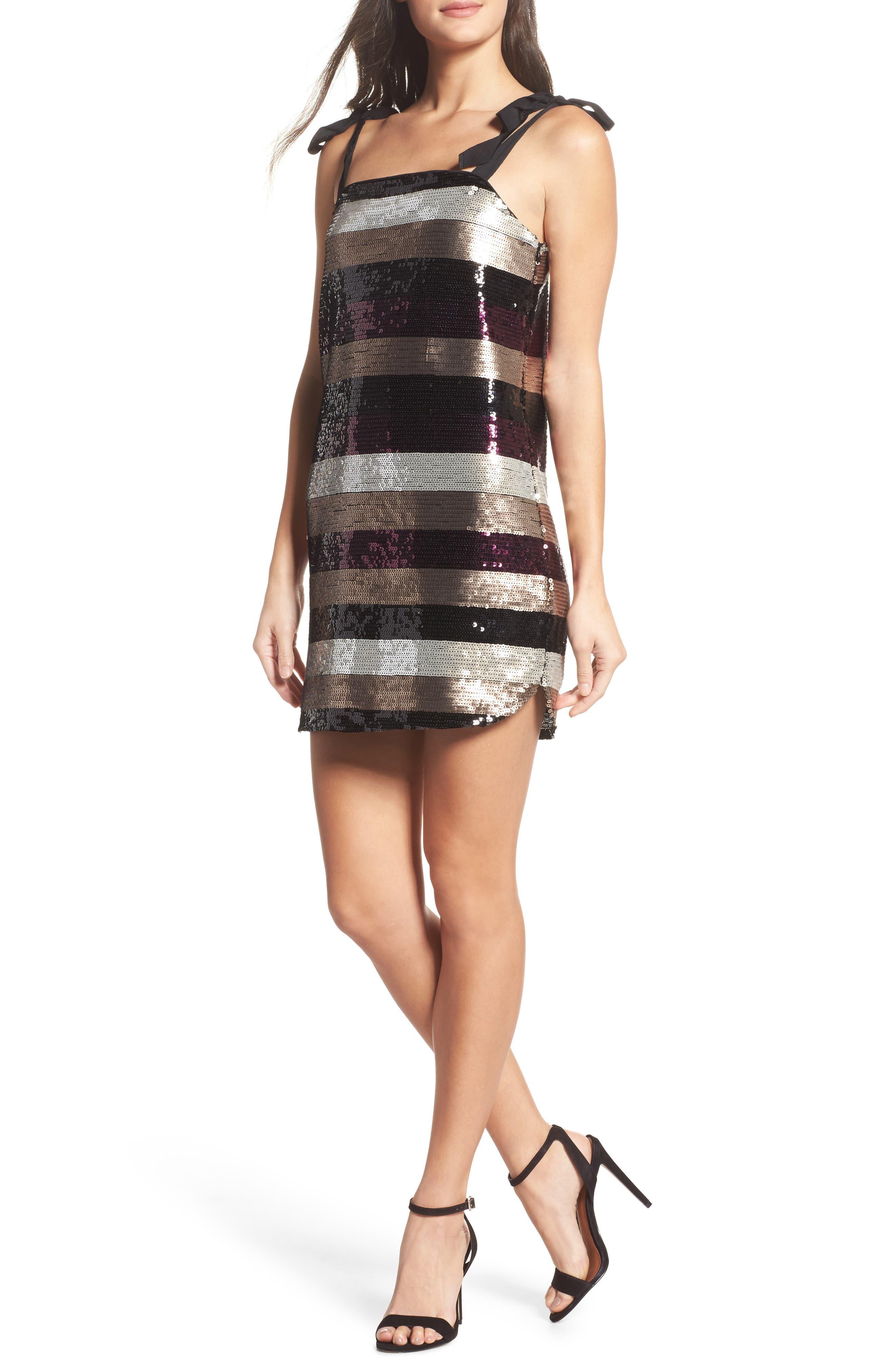 I'm With Andi Minidress,                         Main,                         color, Multi Stripe Sequin