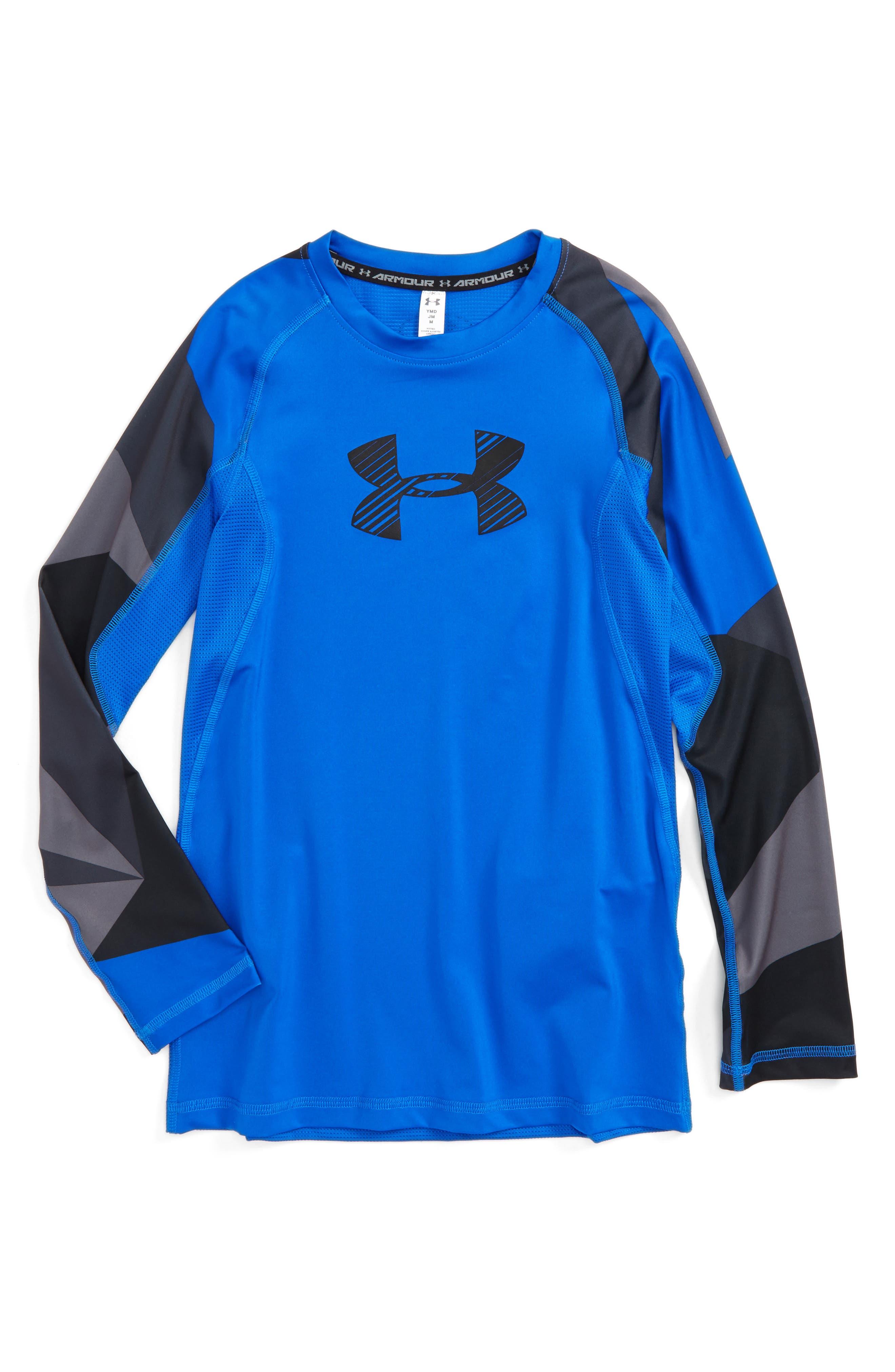 Novelty HeatGear<sup>®</sup> Shirt,                             Main thumbnail 1, color,                             Ultra Blue/ Black