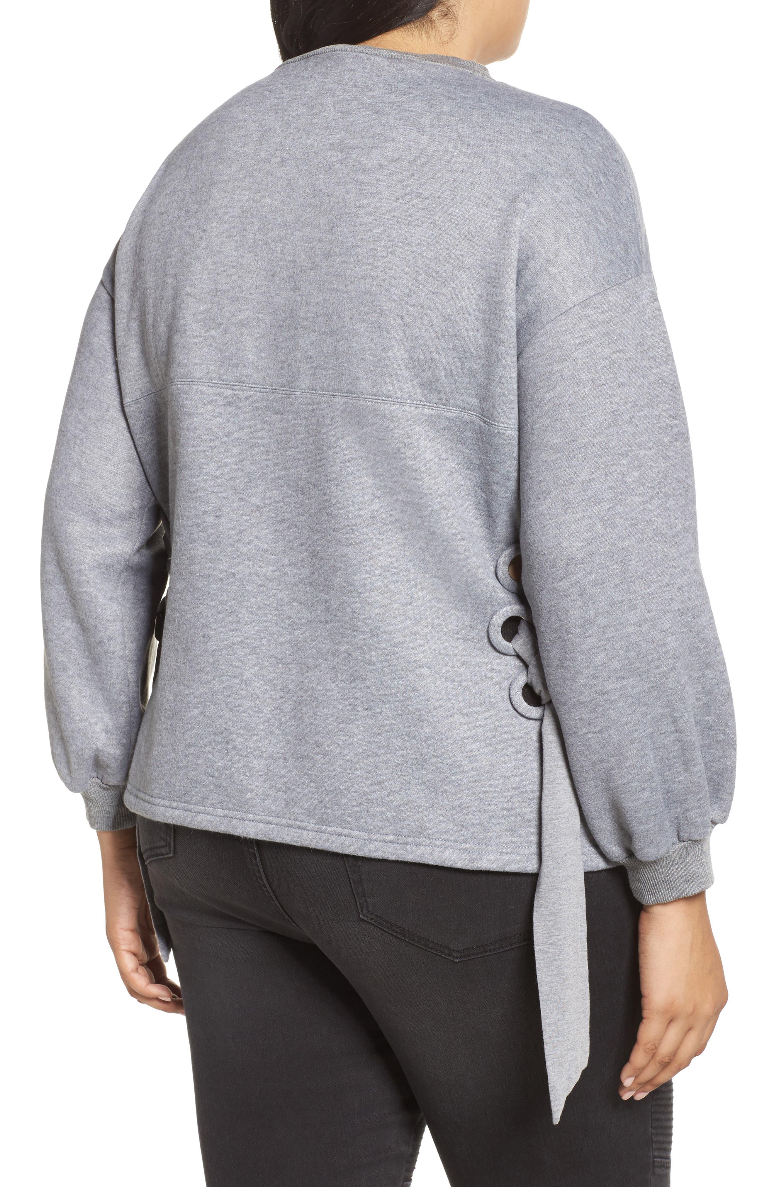 Side Tie Sweatshirt,                             Alternate thumbnail 2, color,                             Grey