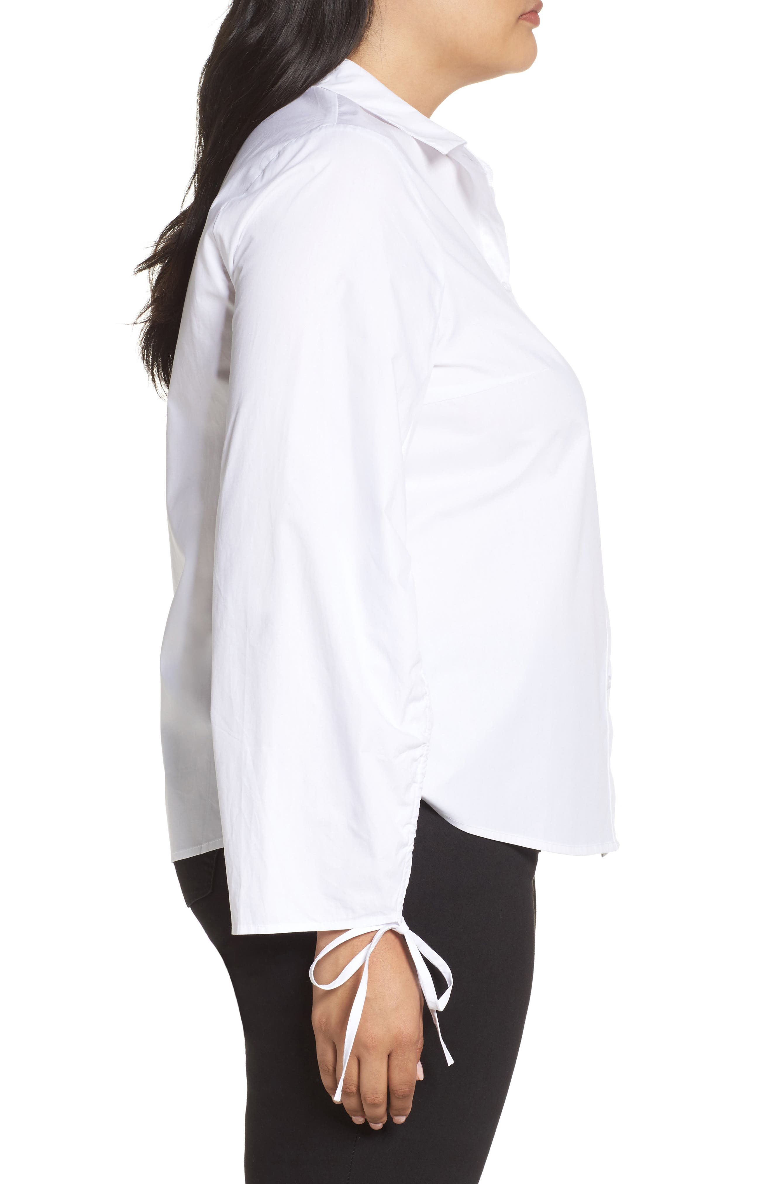 Ruched Sleeve Button-Up Shirt,                             Alternate thumbnail 3, color,                             White