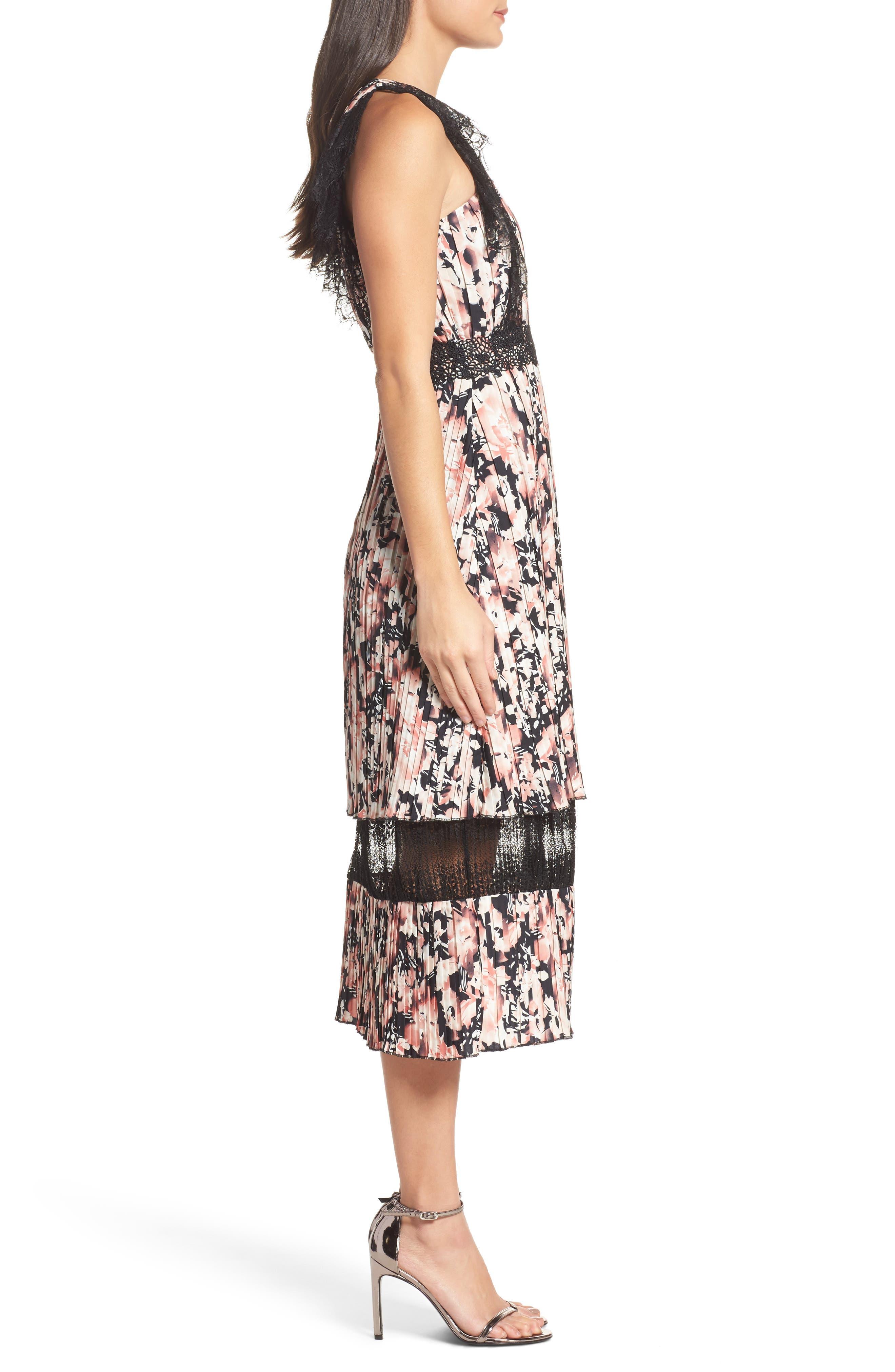 Alternate Image 3  - Foxiedox Jasmine Lace Trim Pleated Floral Midi Dress