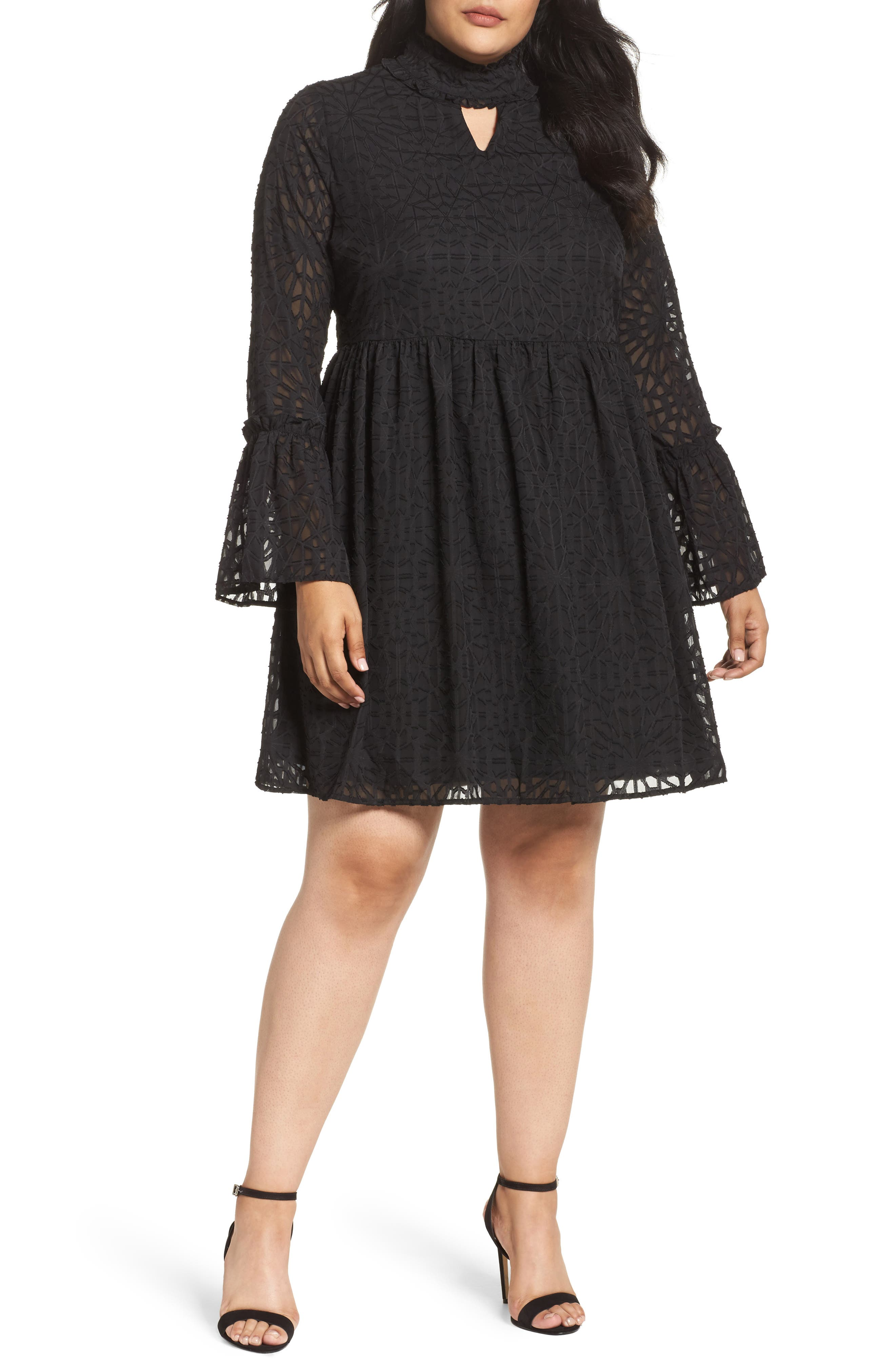 Geo Lace Fit & Flare Dress,                             Main thumbnail 1, color,                             Black