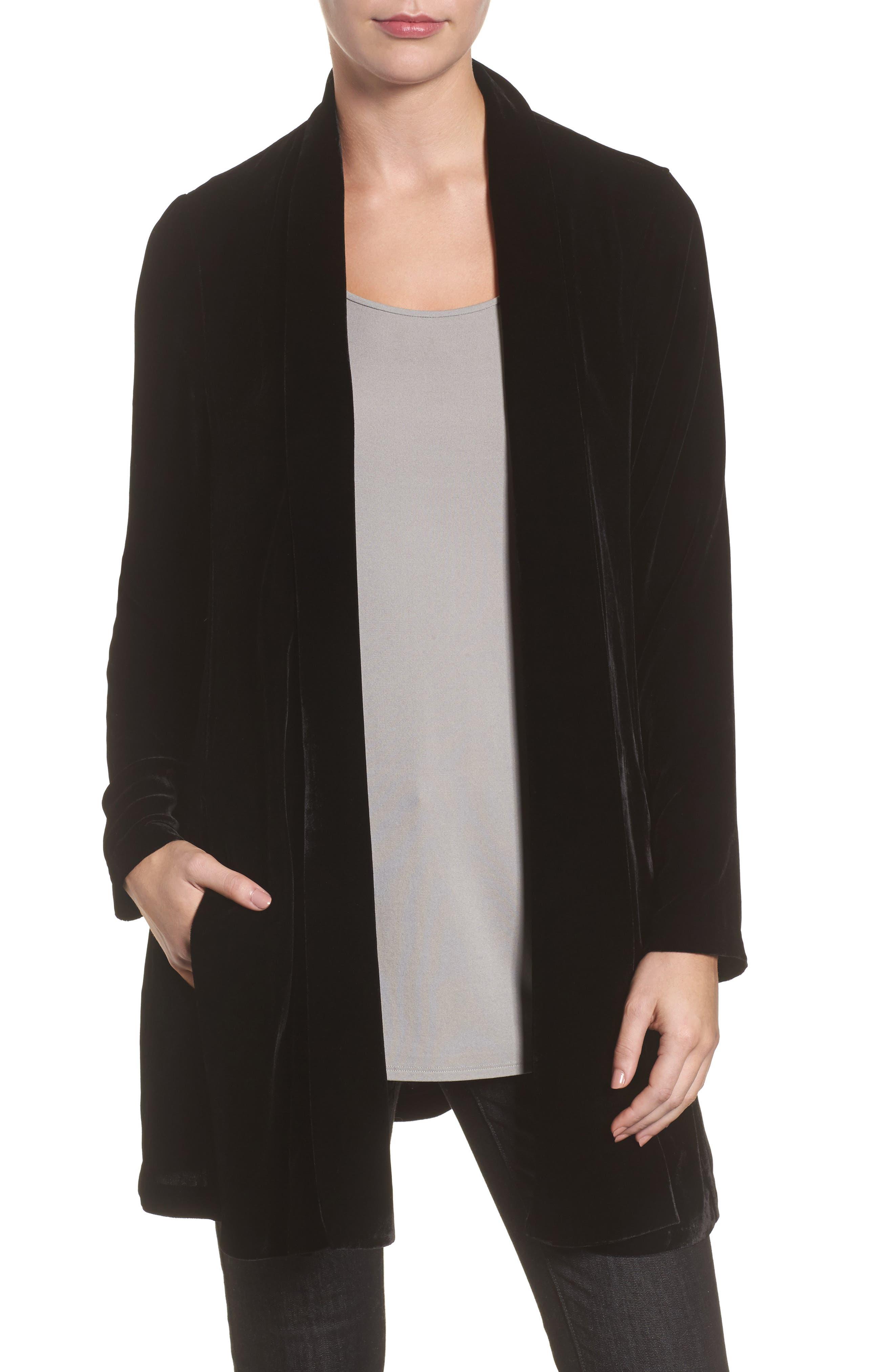 Shawl Collar Velvet Jacket,                             Main thumbnail 1, color,                             Black