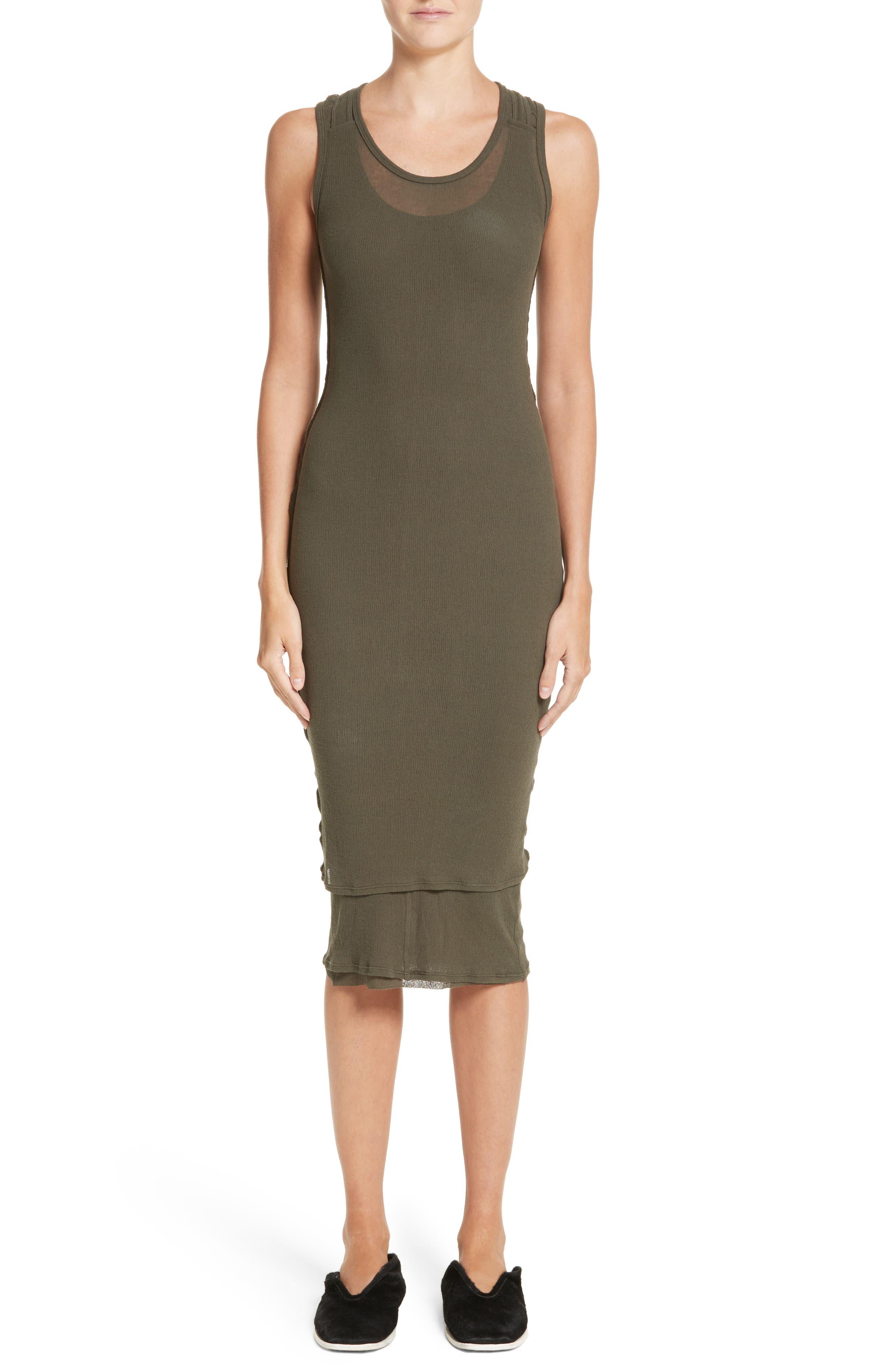PSWL Jersey Gauze Dress,                             Main thumbnail 1, color,                             Army