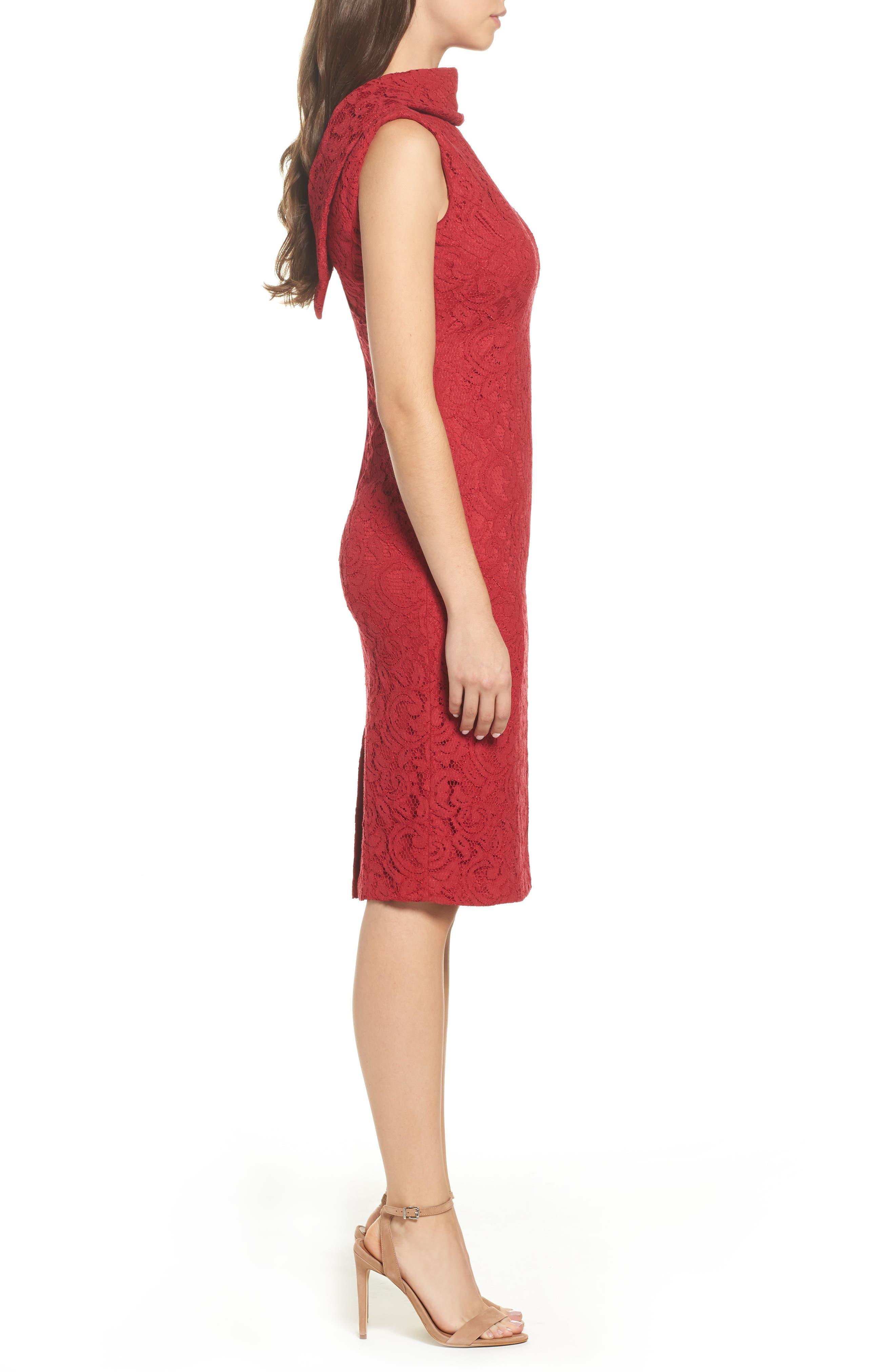 Lace Sheath Dress,                             Alternate thumbnail 3, color,                             Cherry
