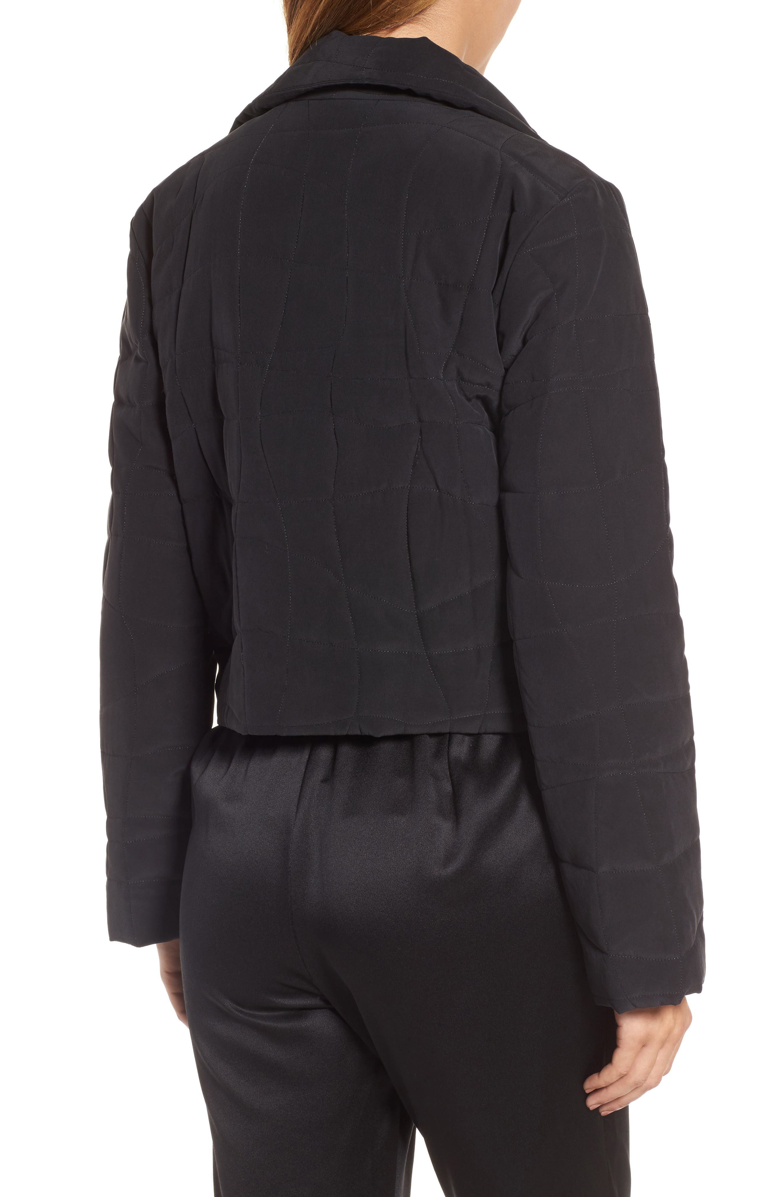 Quilted Silk Crop Jacket,                             Alternate thumbnail 2, color,                             Black