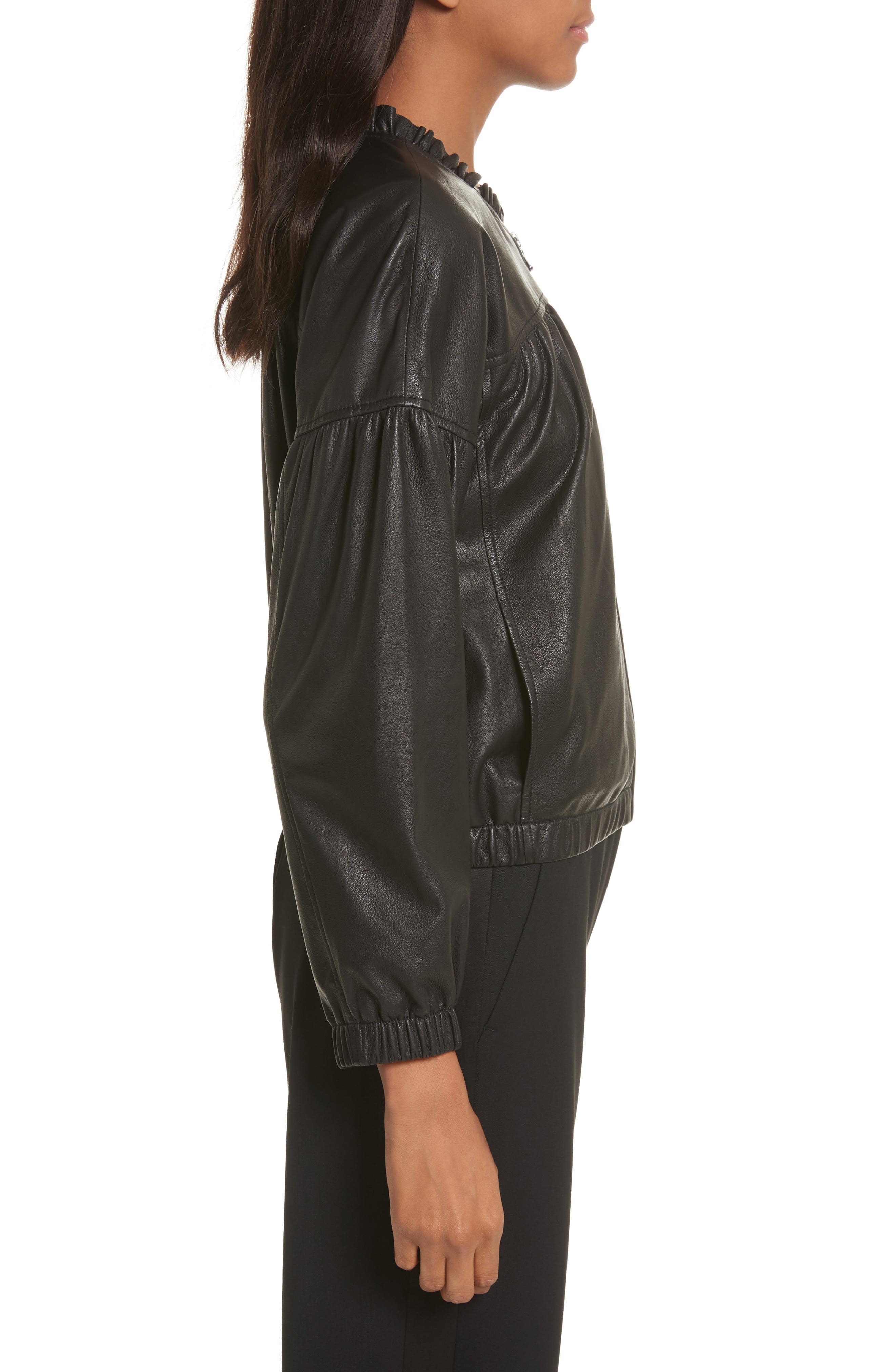 Leather Bomber Jacket,                             Alternate thumbnail 3, color,                             Black