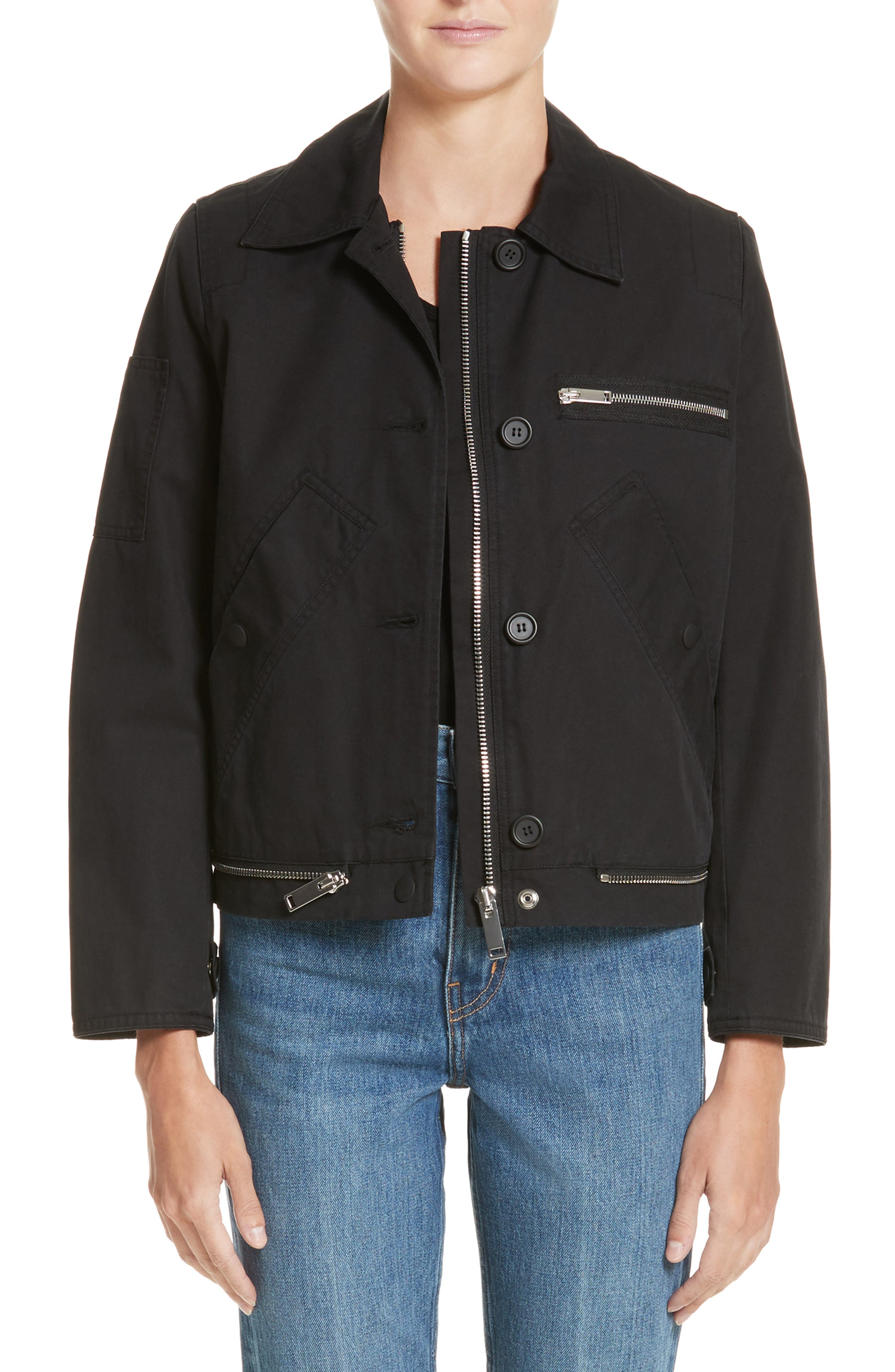 PSWL Washed Cotton Military Jacket,                         Main,                         color, Black