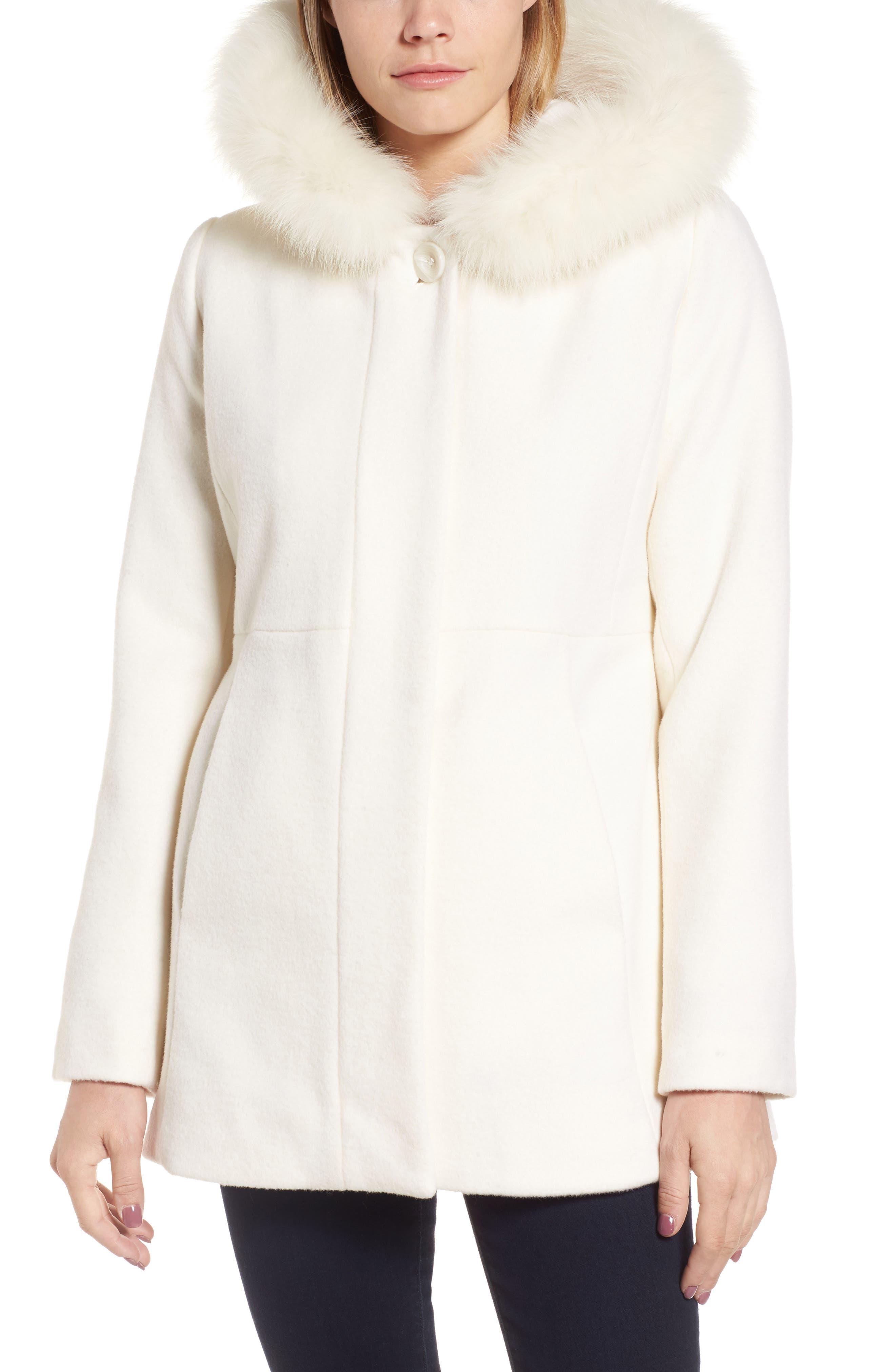 Genuine Fox Fur Trim Hooded Wool Blend Coat,                             Alternate thumbnail 4, color,                             Ivory