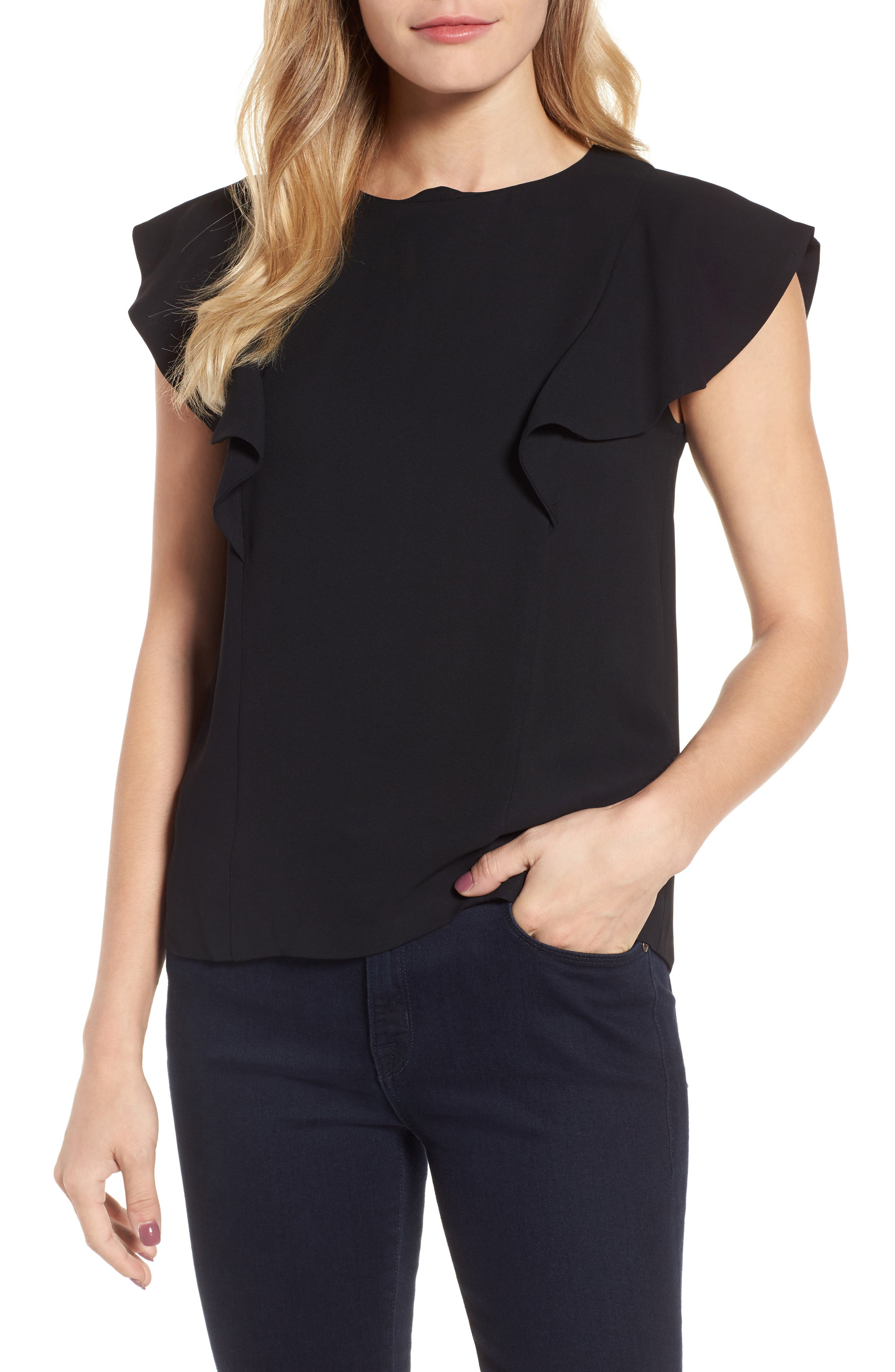 Solid Ruffle Top,                         Main,                         color, Black