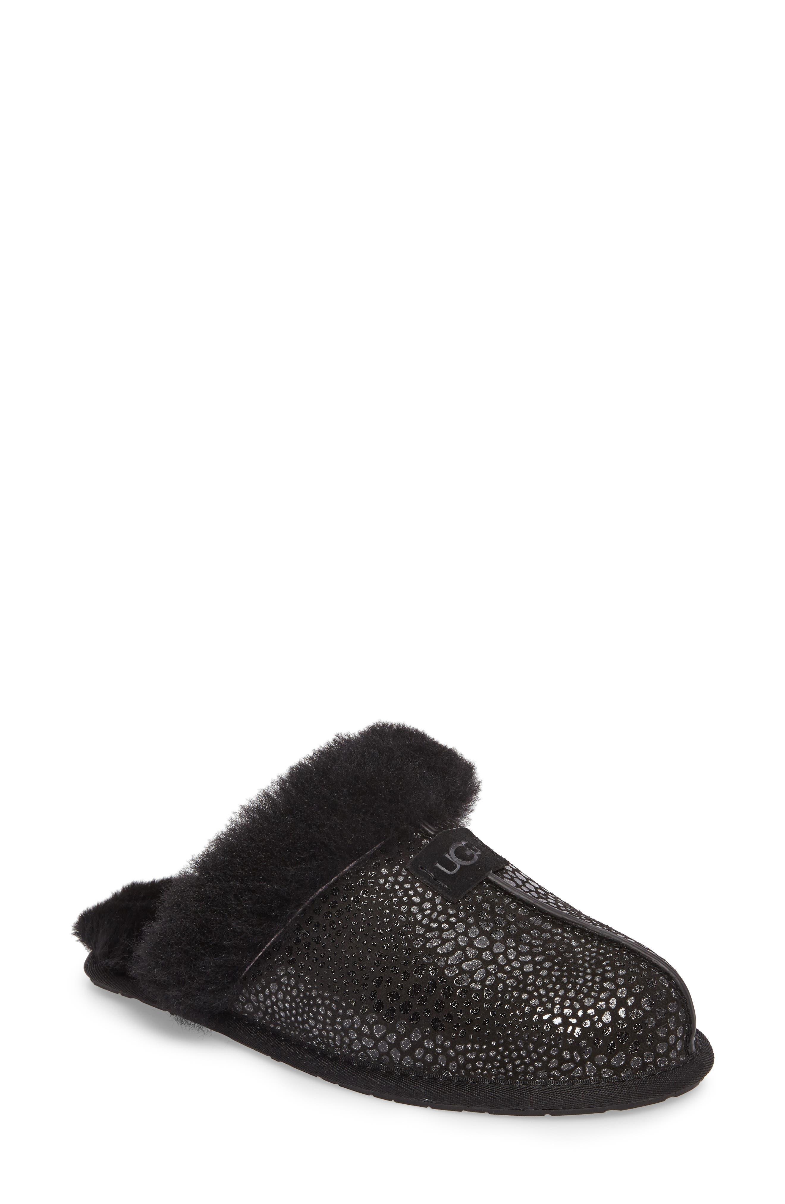 Scuffette II Glitzy Slipper,                         Main,                         color, Black Suede