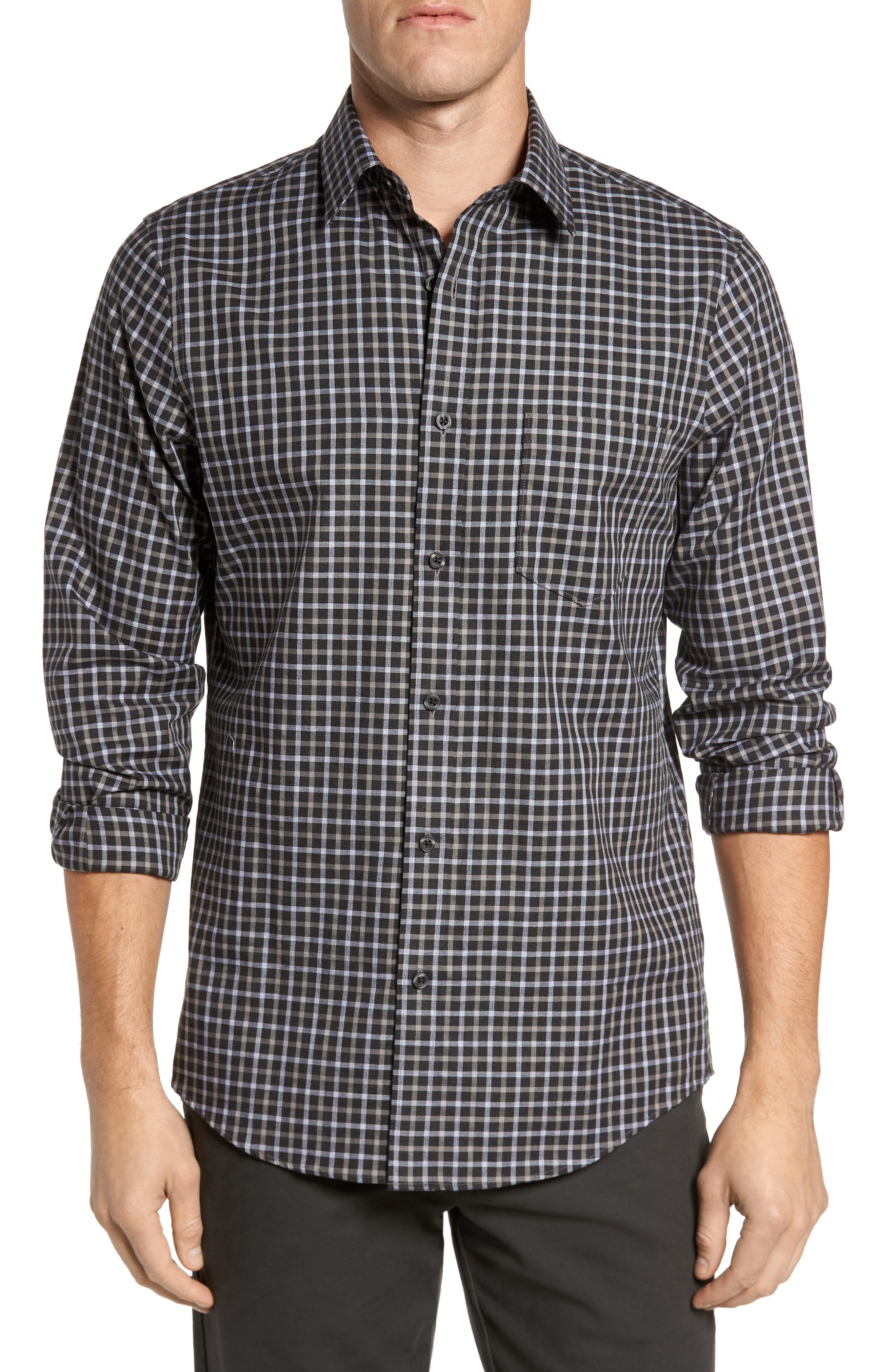 Regular Fit Non-Iron Check Sport Shirt,                         Main,                         color, Black Caviar Grey Check
