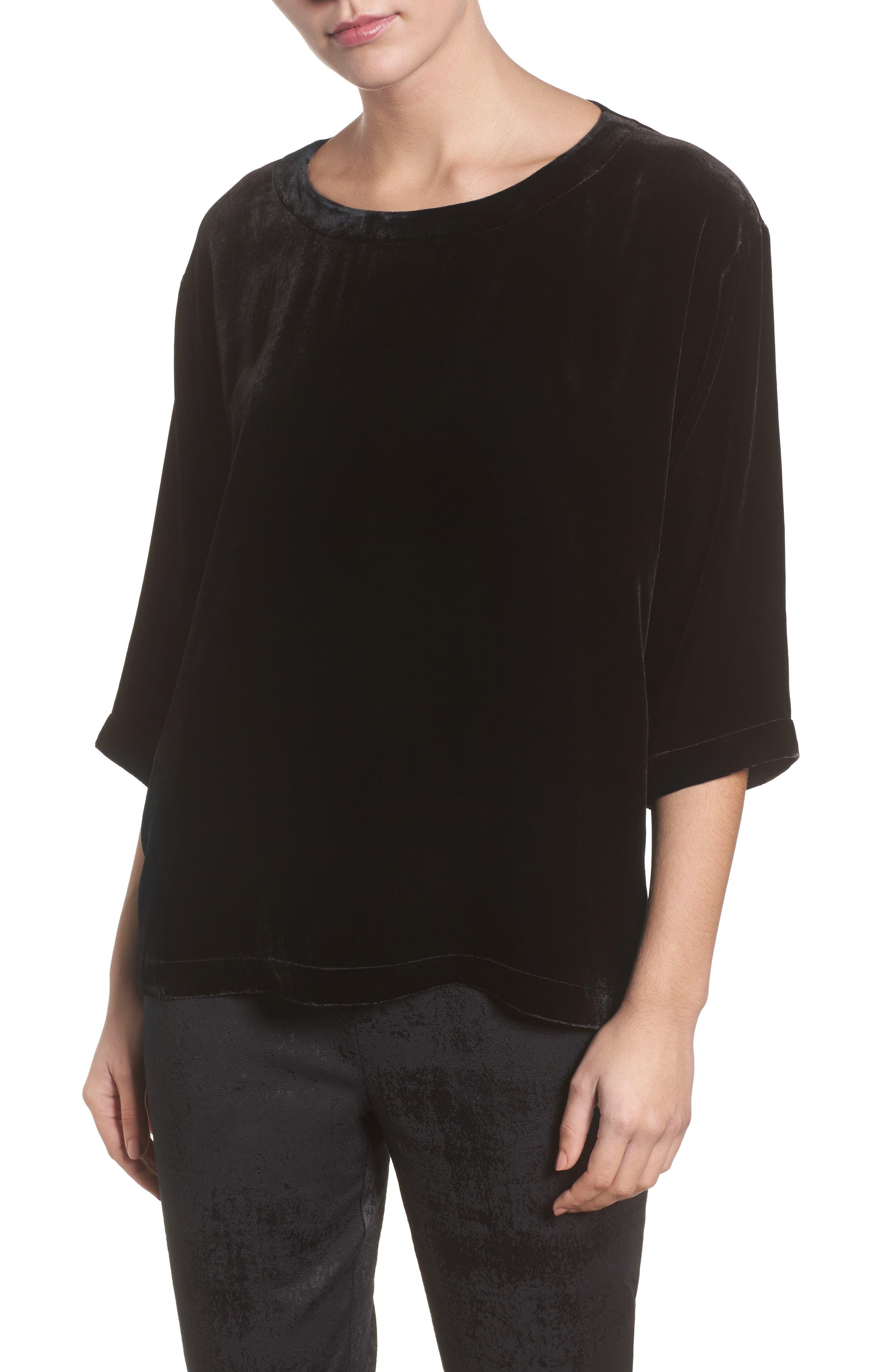 Eileen Fisher Boxy Velvet Top (Regular & Petite)