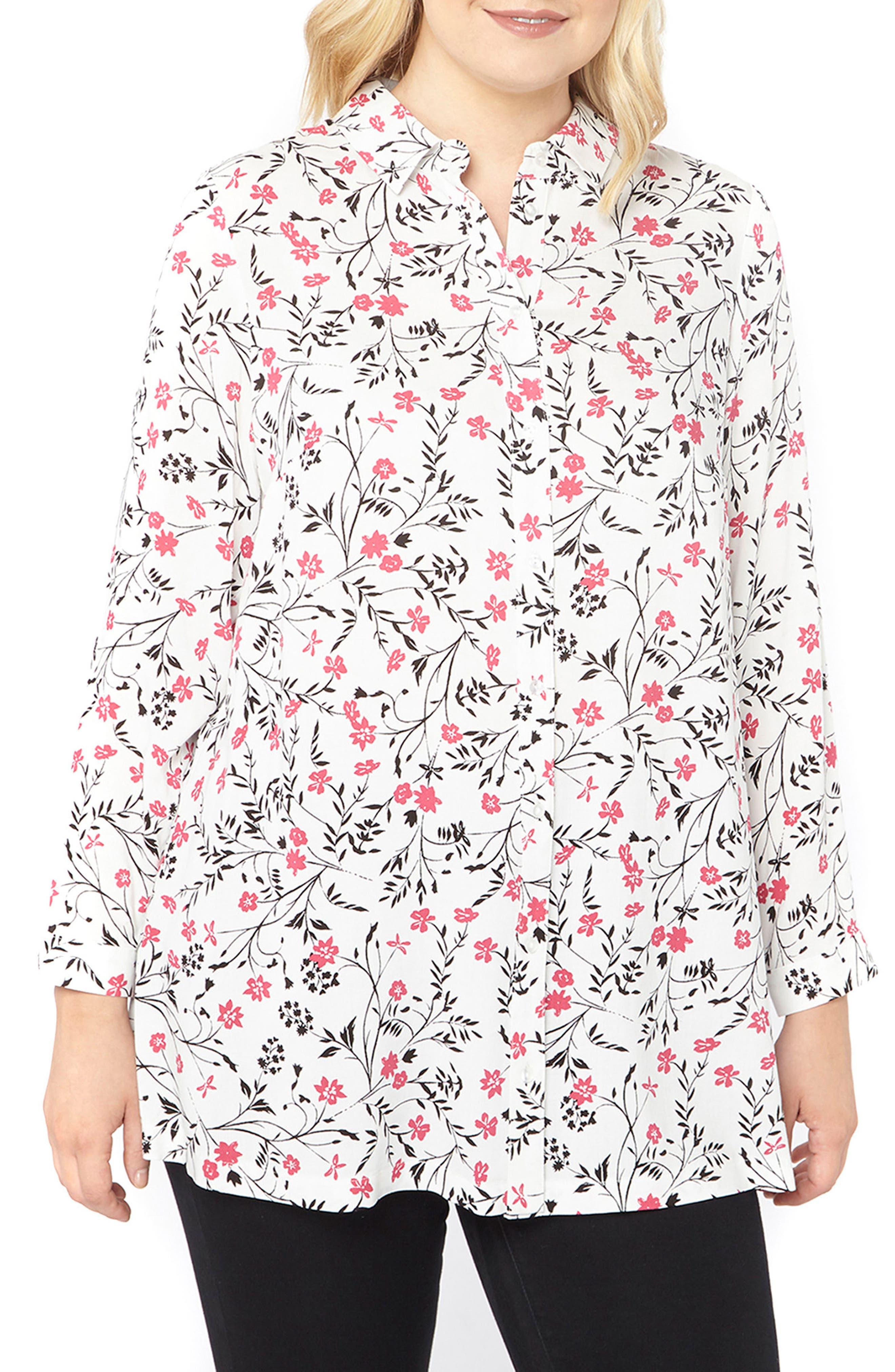 Evans Ditsy Floral Shirt (Plus Size)