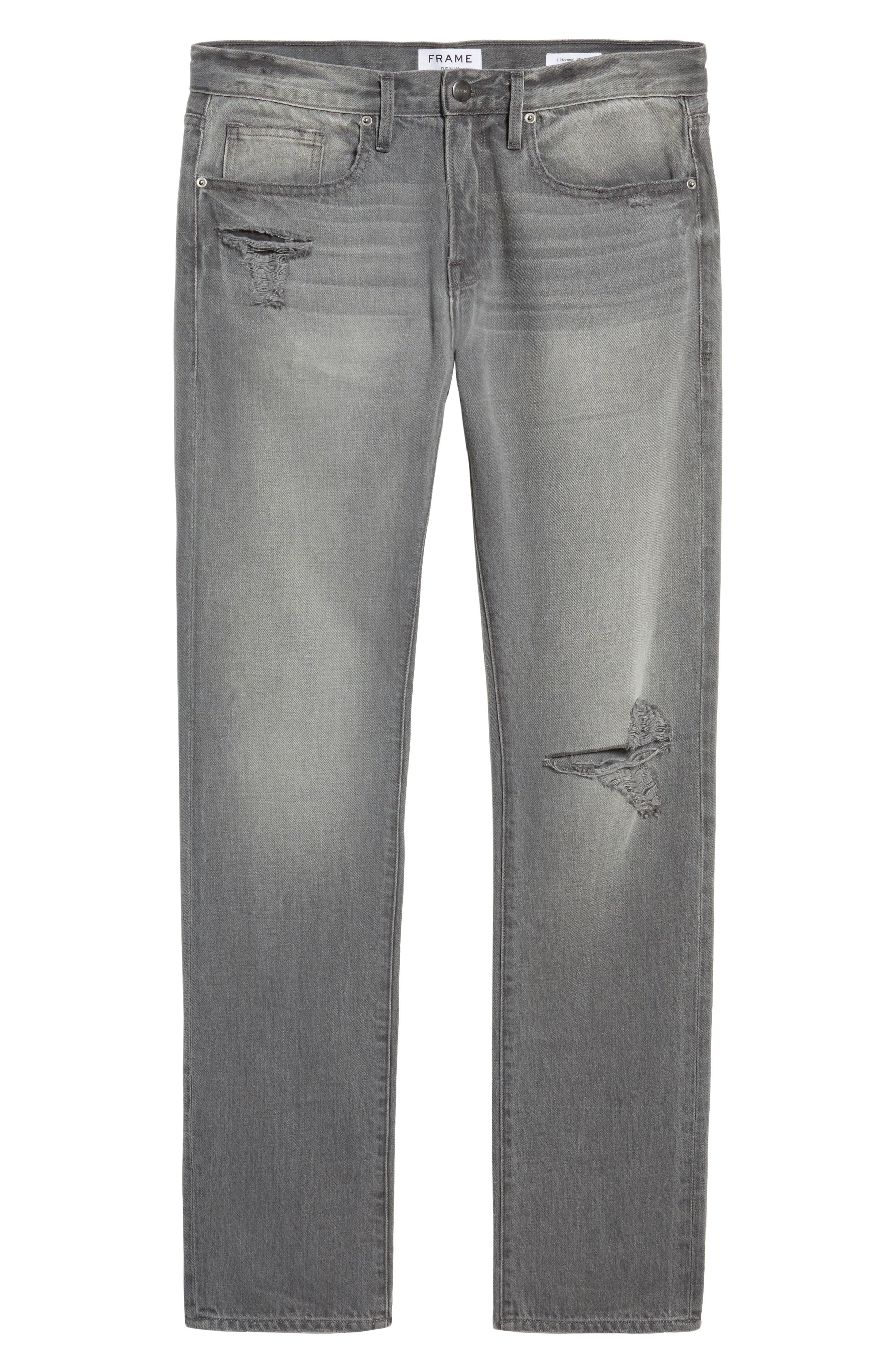 Alternate Image 6  - FRAME L'Homme Slim Fit Jeans (Grey Fox)
