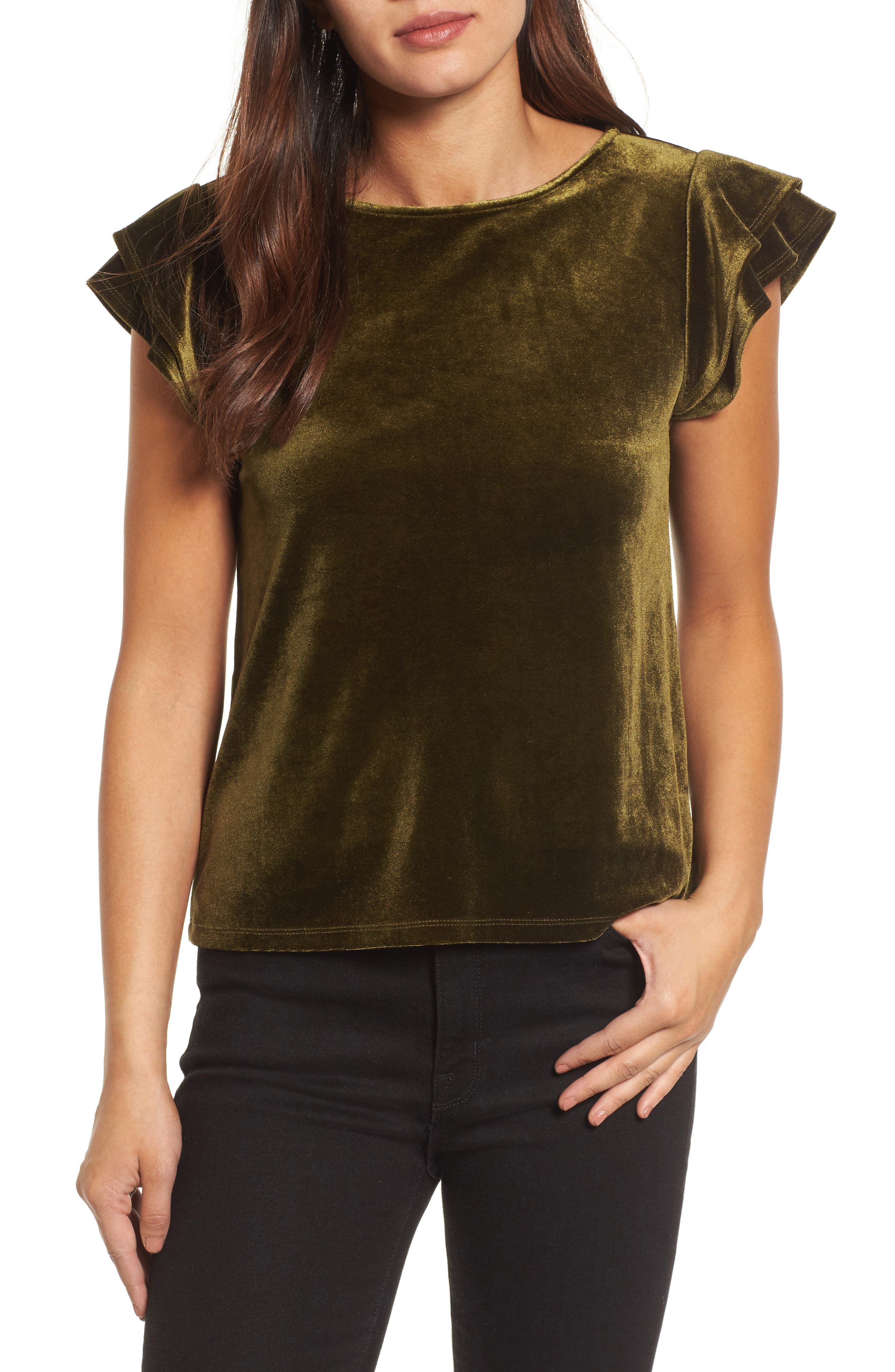 Halogen® Flutter Sleeve Velvet Top