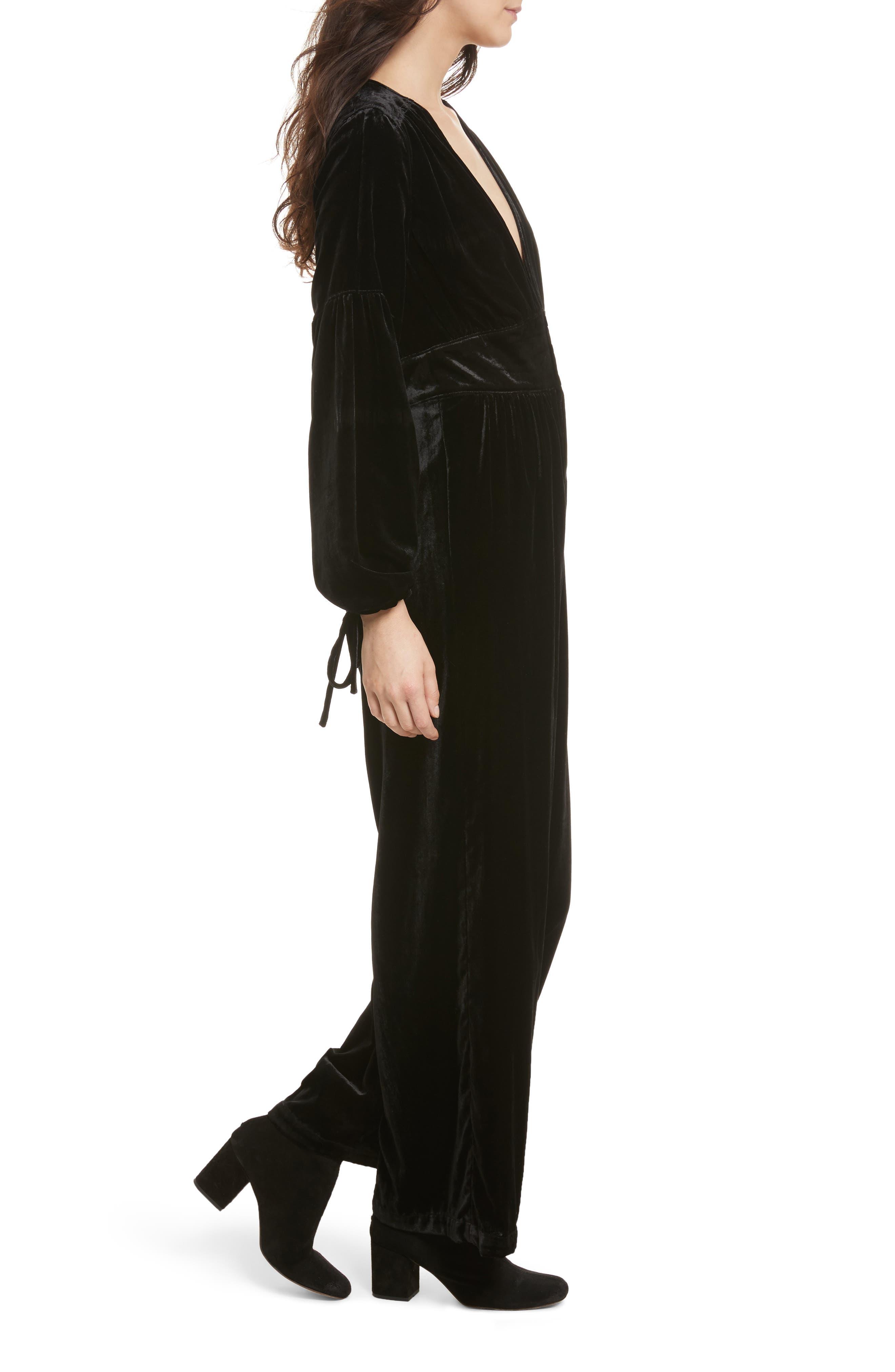 True Lovin Velvet Jumpsuit,                             Alternate thumbnail 4, color,                             Black