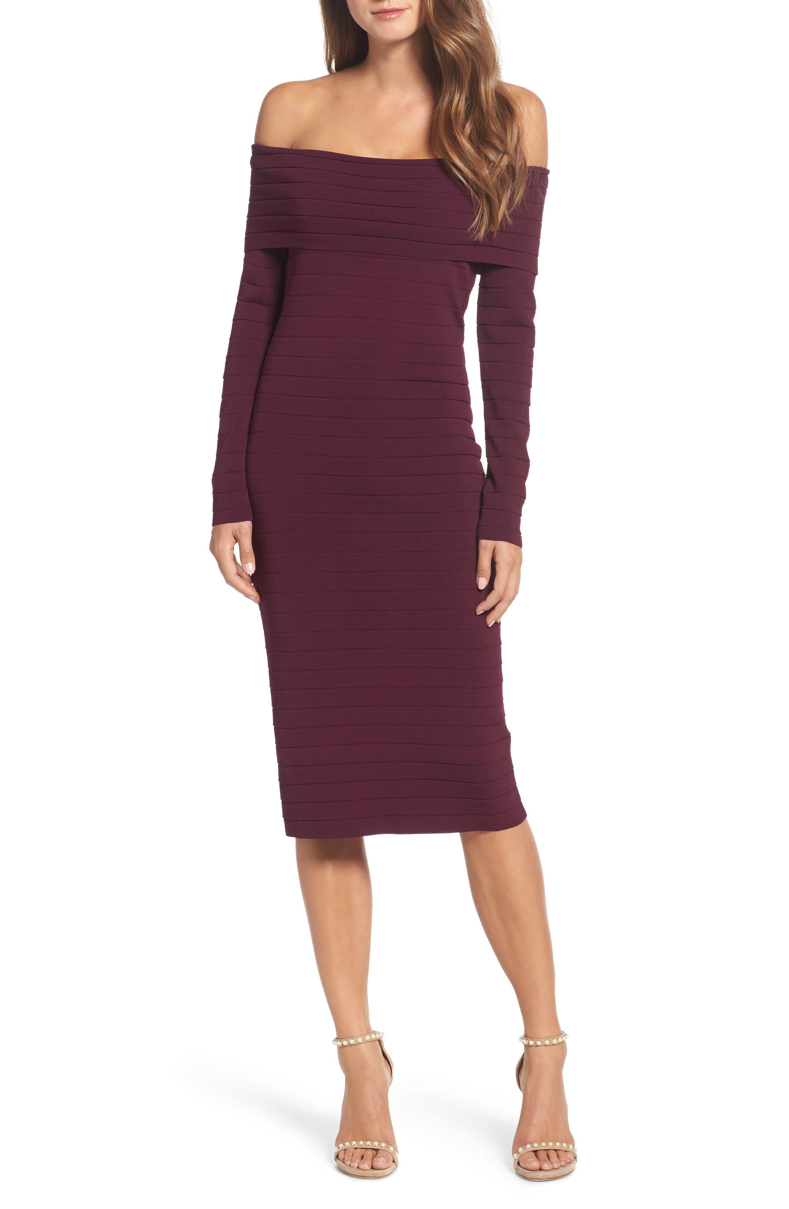 Bandage Midi Dress,                         Main,                         color, Wine
