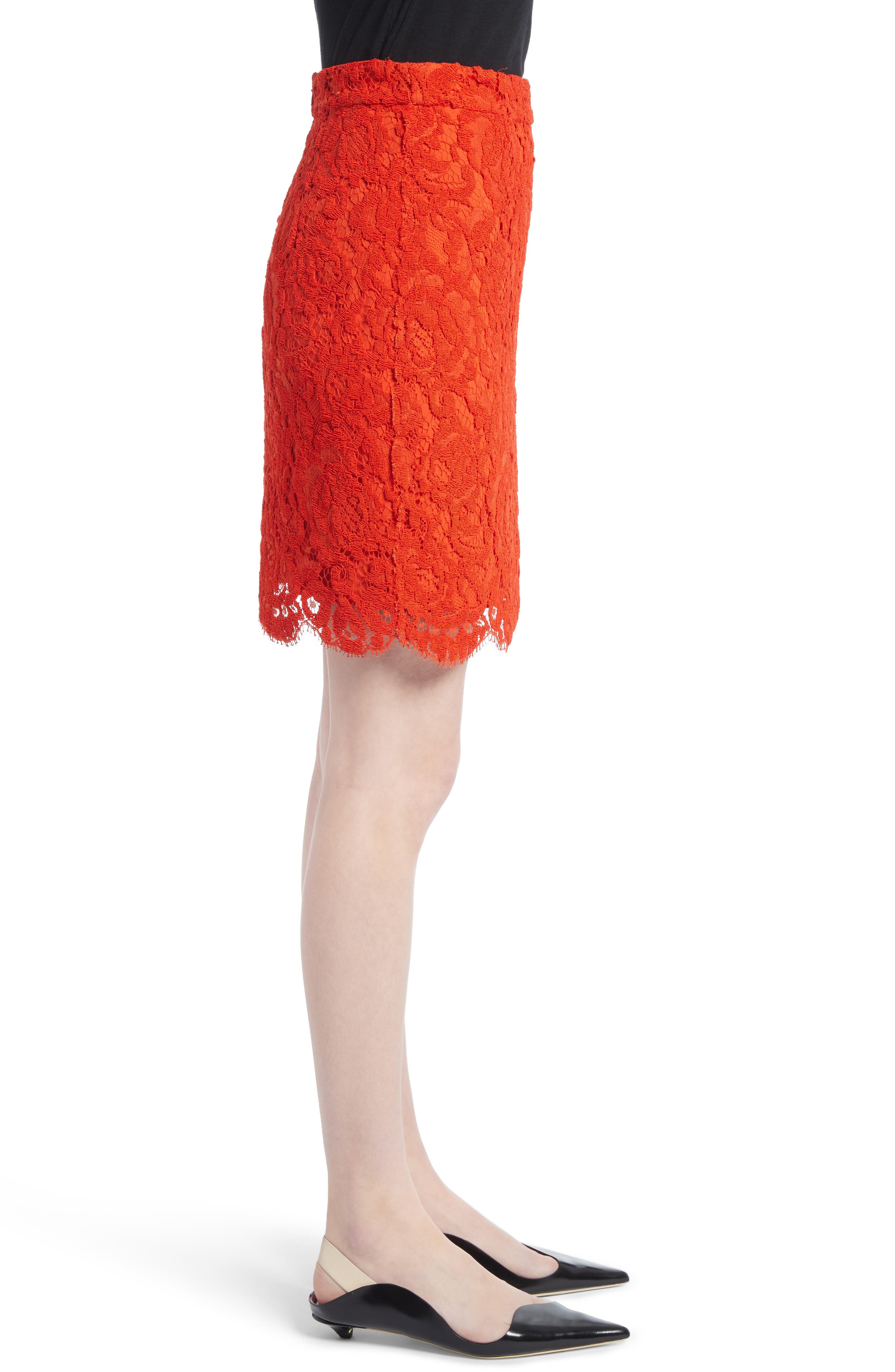 Corded Lace Miniskirt,                             Alternate thumbnail 3, color,                             Coral